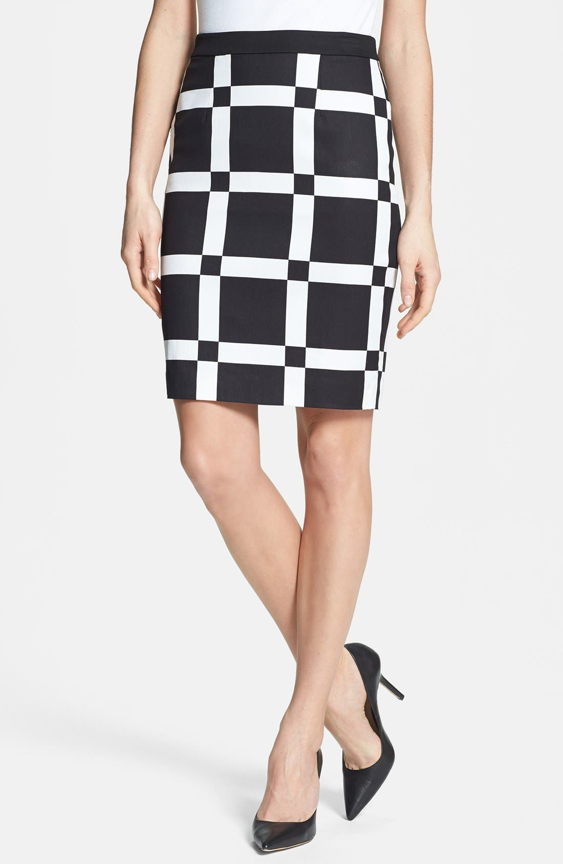 Print Pencil Skirt,                         Main,                         color, Black/ Cream Cloud Combo