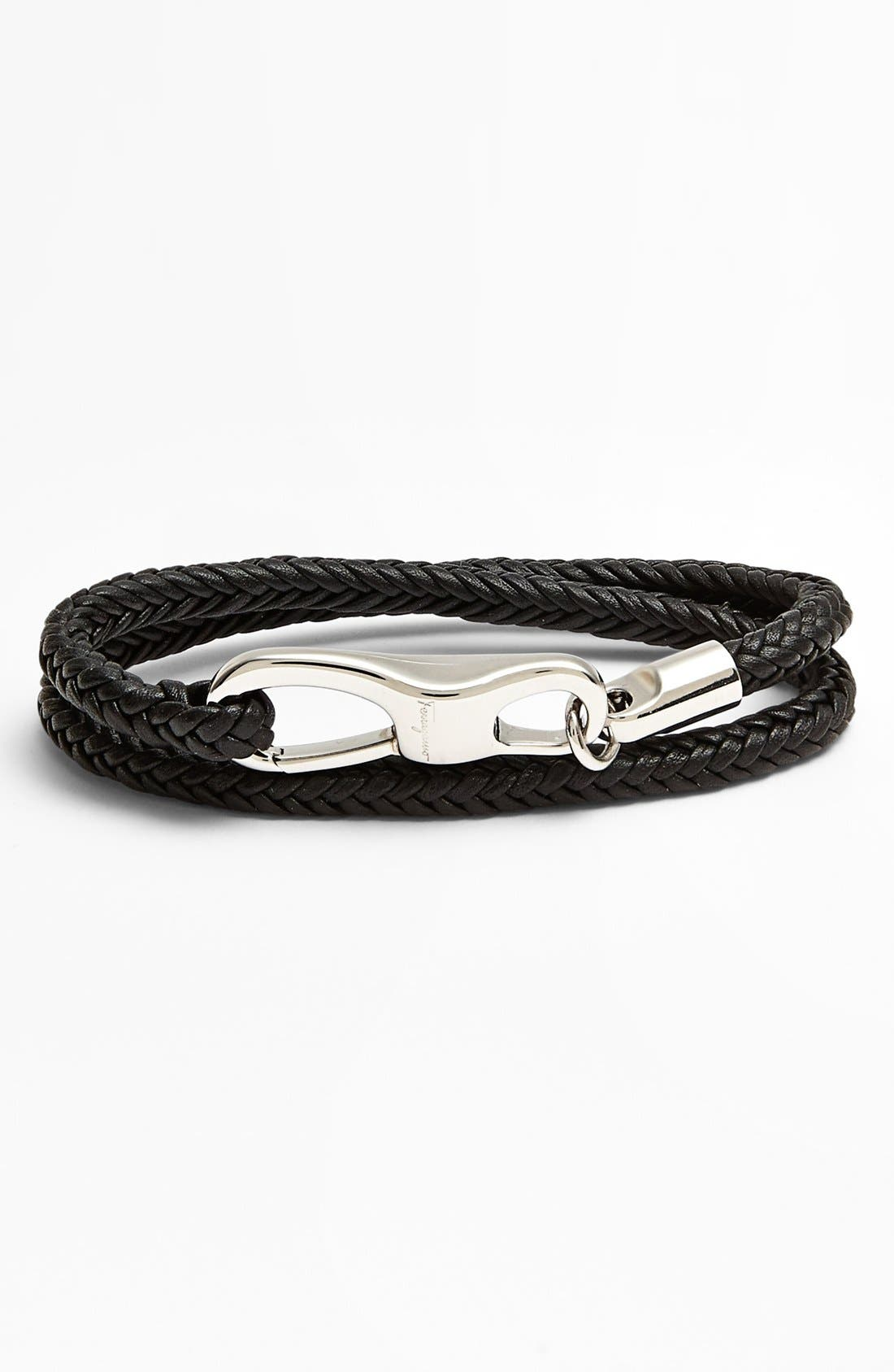 Alternate Image 1 Selected - Salvatore Ferragamo Braided Leather Bracelet