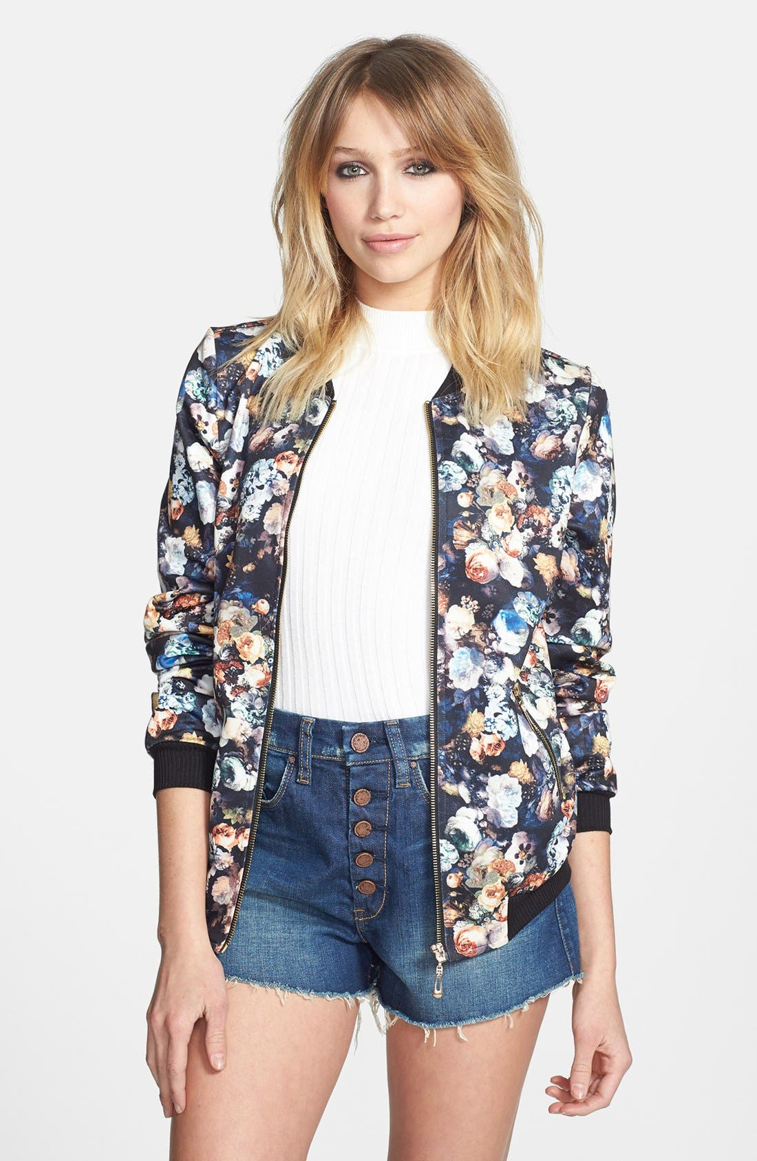 Alternate Image 1 Selected - Lark Floral Print Bomber Jacket