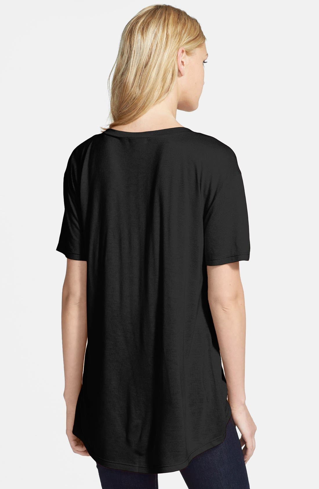 Oversized V-Neck Tee,                             Alternate thumbnail 2, color,                             Black