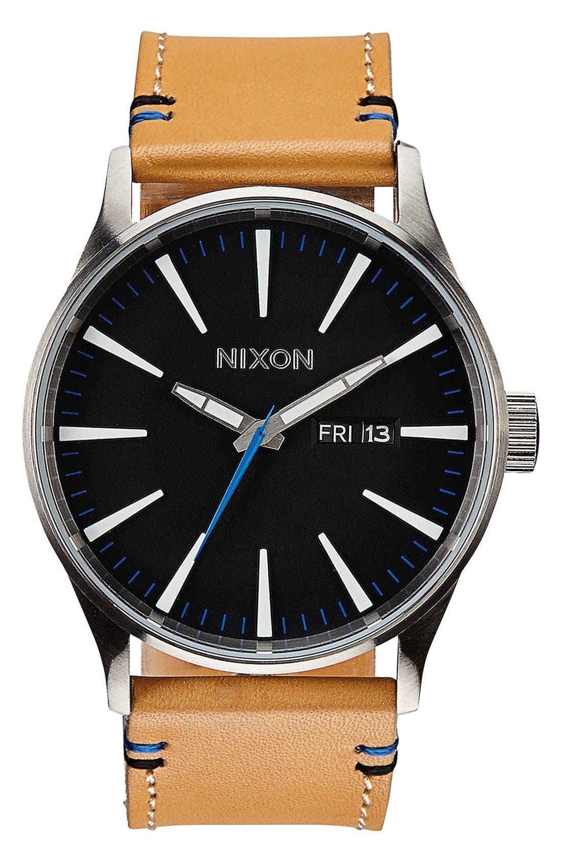 The Sentry Leather Strap Watch, 42mm,                         Main,                         color, Natural/ Black