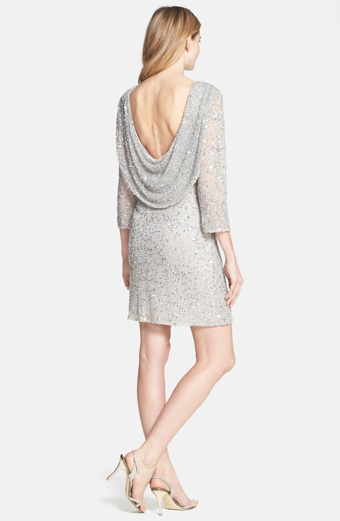 Cowl Back Sequin & Bead Dress,                             Alternate thumbnail 3, color,                             Silver