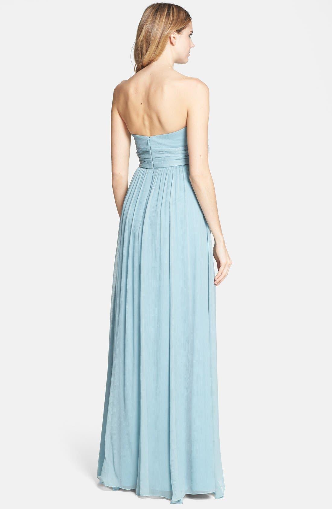 Alternate Image 2  - Jenny Yoo 'Sienna' Strapless Crinkle Silk Chiffon Dress