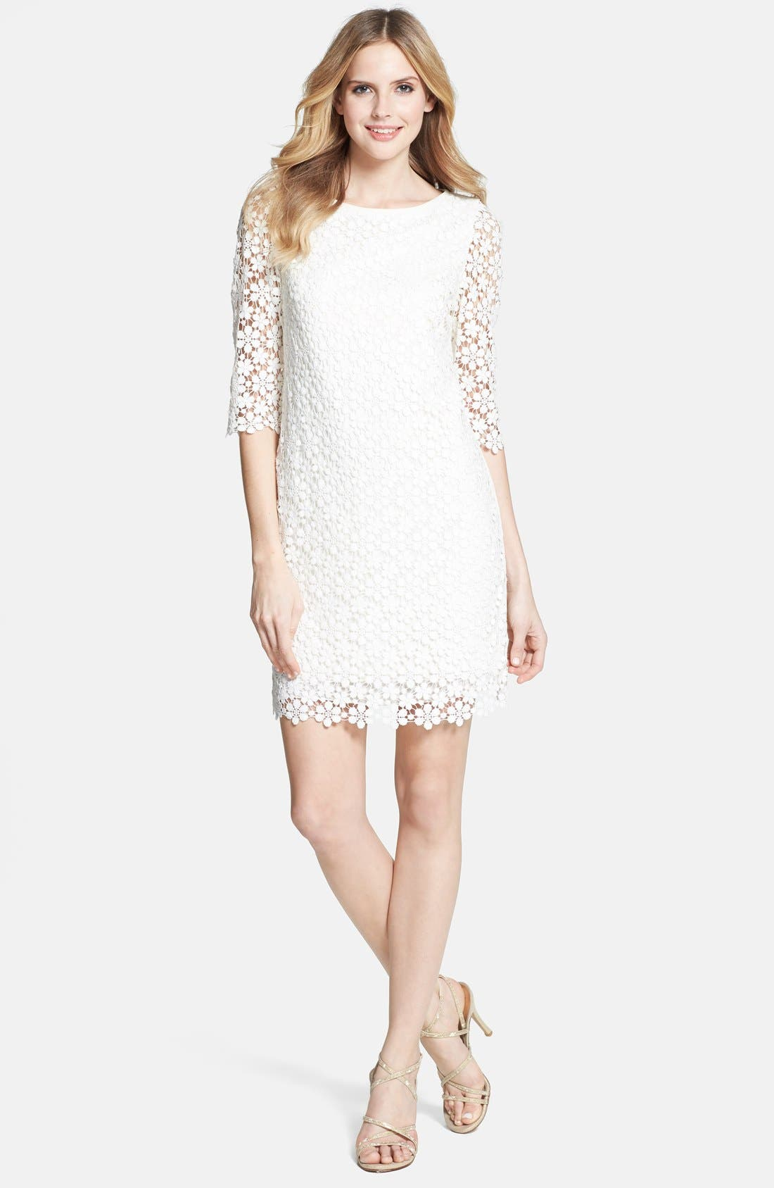 'Tibi' Daisy Guipure Lace Shift Dress,                             Alternate thumbnail 3, color,                             Ivory