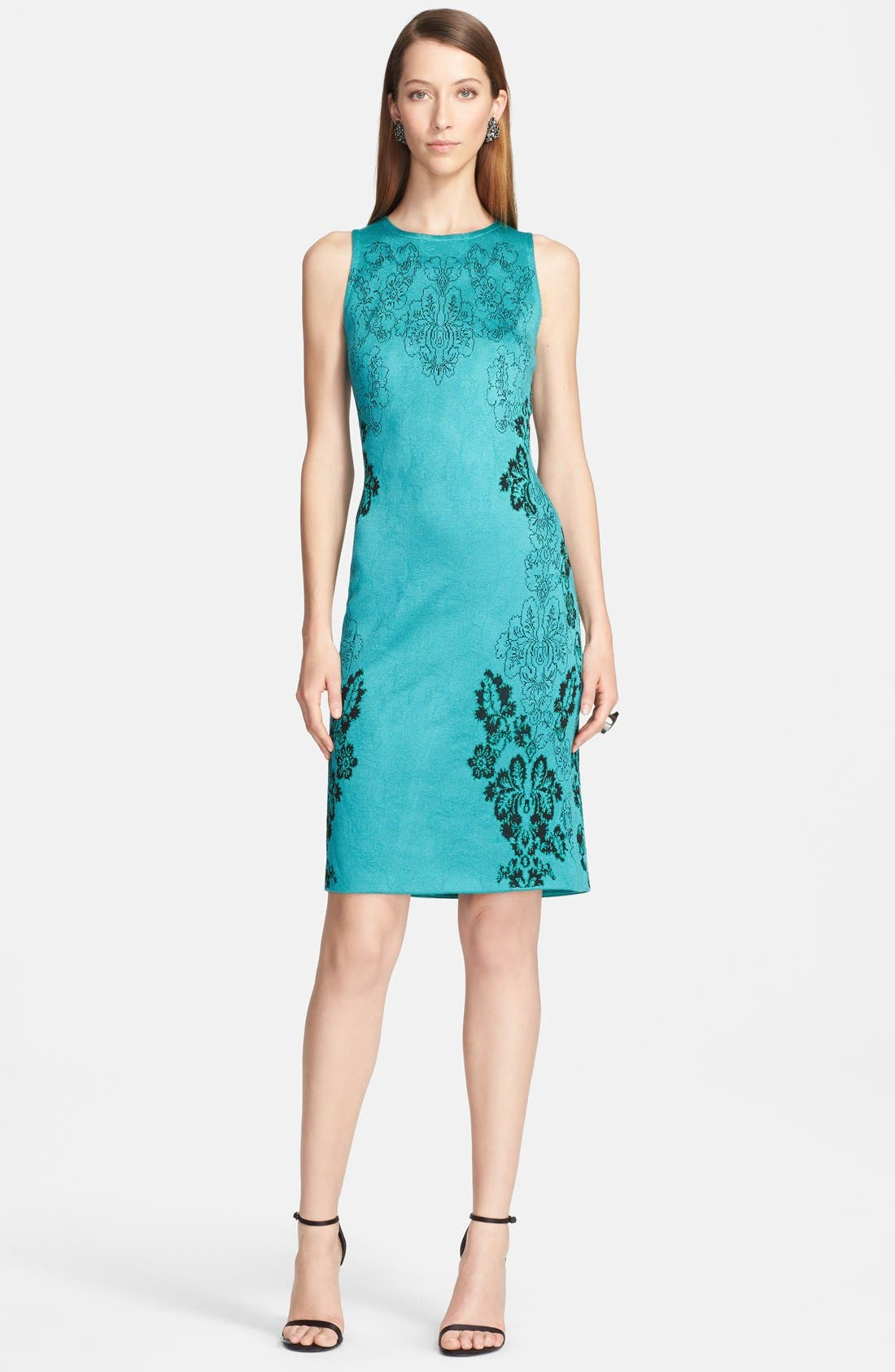 Main Image - St. John Collection 'Floral Cascade' Jacquard Knit Sheath Dress