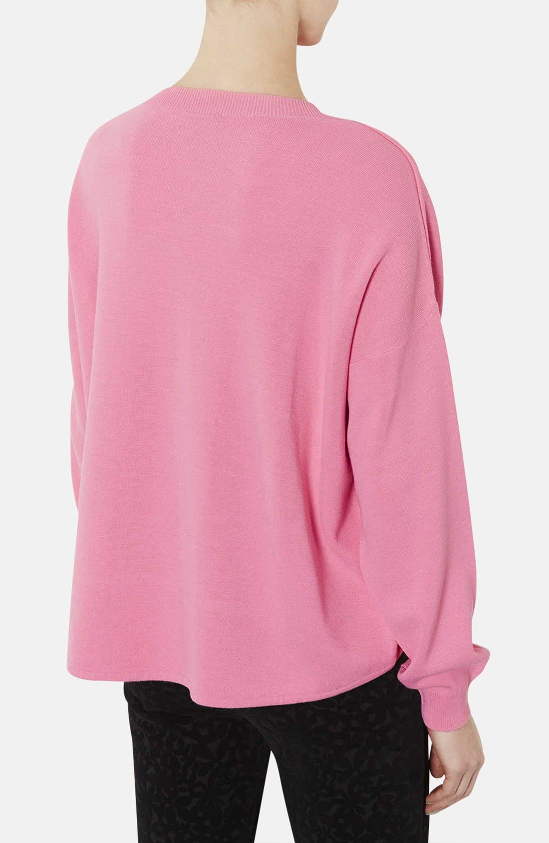 Alternate Image 2  - Topshop High/Low Knit Sweater