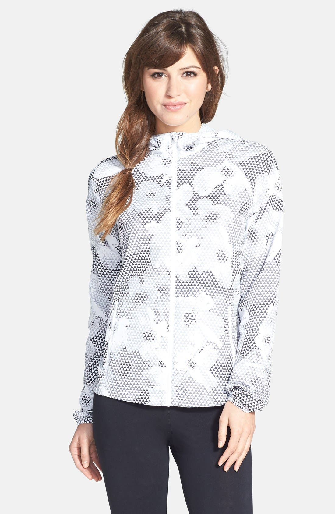 Alternate Image 1 Selected - Nike 'Distance' Print Hooded Jacket