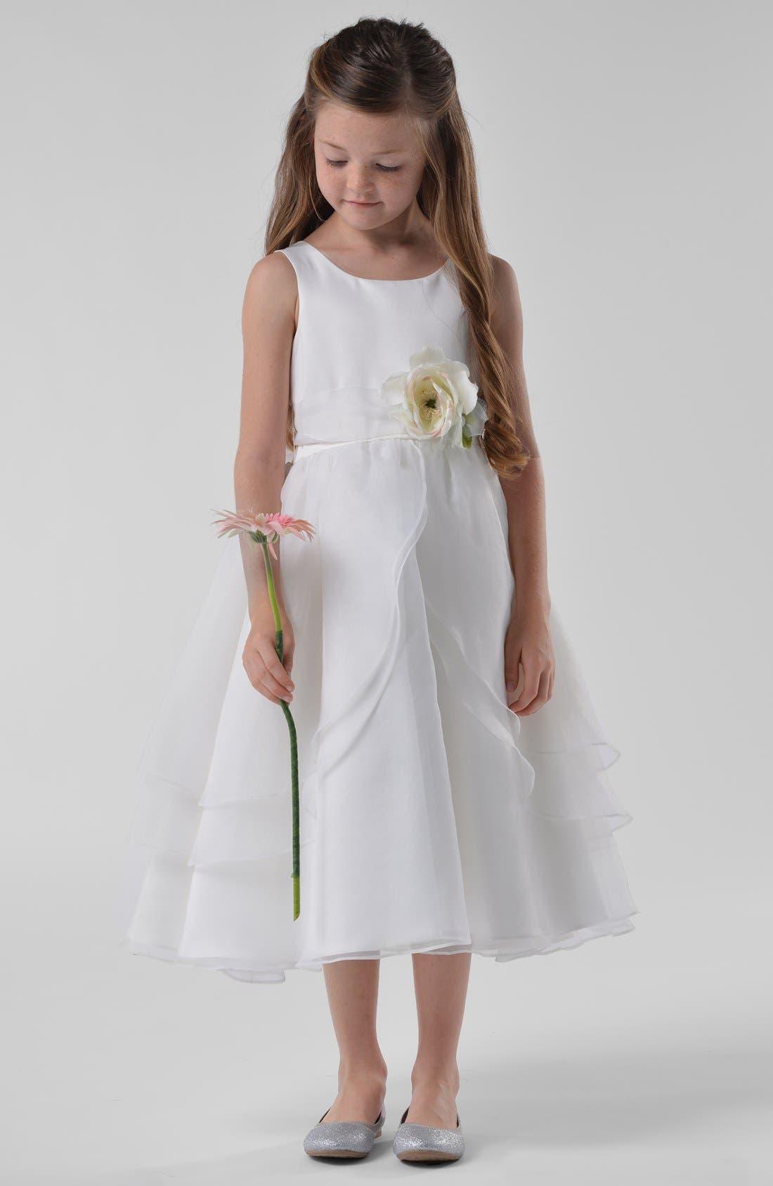 Main Image - Us Angels Flower Girl Dress (Toddler Girls)