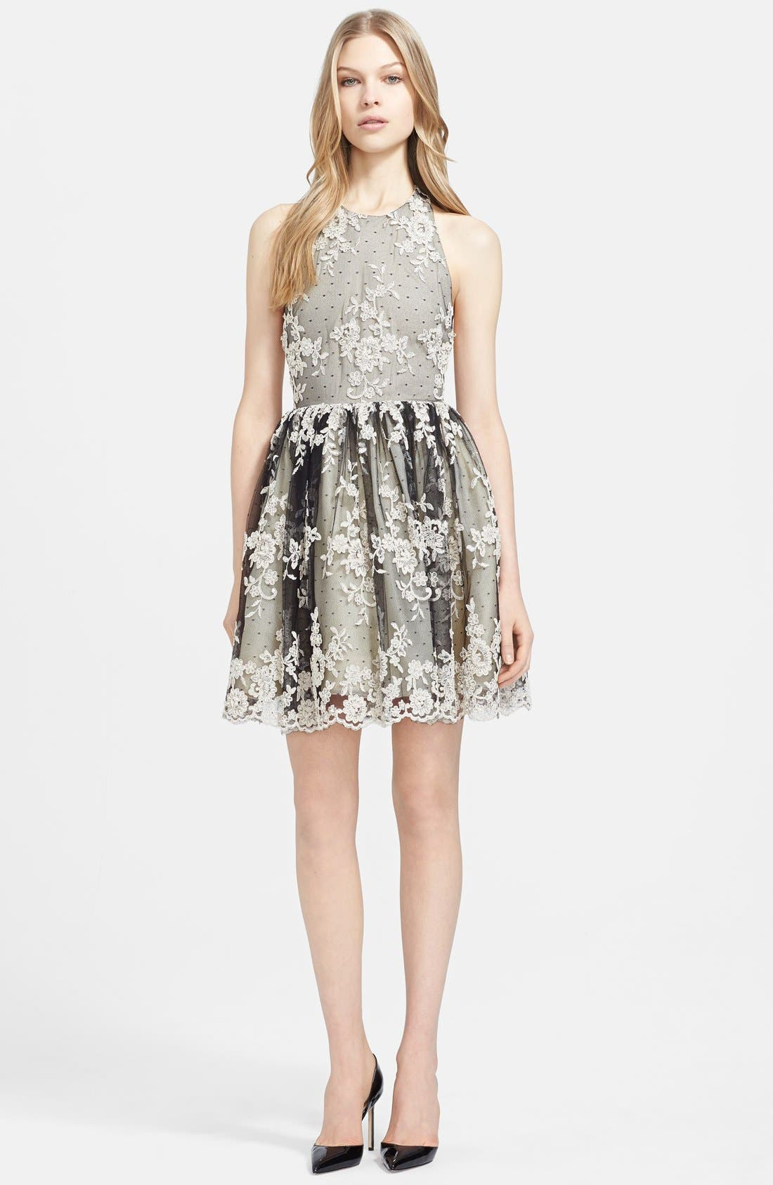 Main Image - Alice + Olivia 'Betrice' T-back Lace Fit & Flare Dress