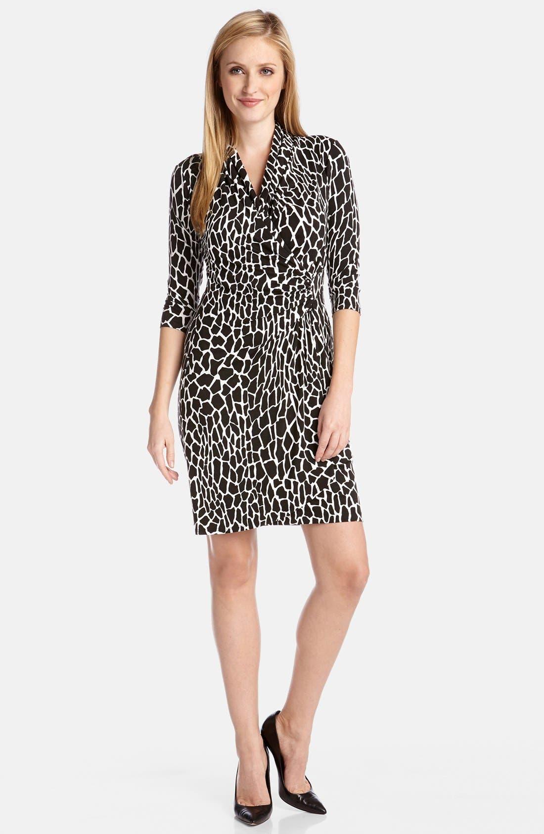 Alternate Image 1 Selected - Karen Kane Croc Print Cascade Wrap Dress