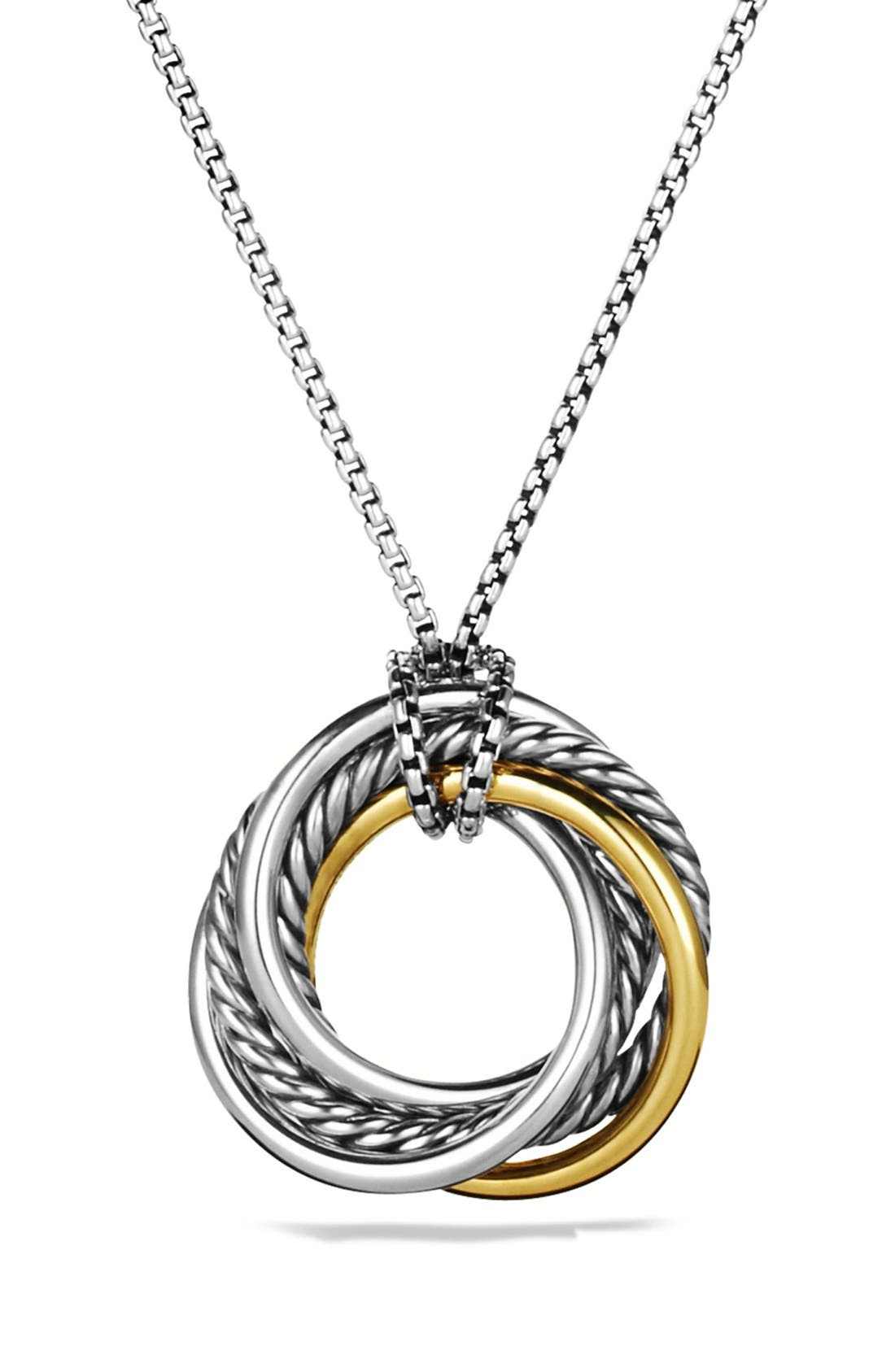 'Crossover' Small Pendant with Gold on Chain,                         Main,                         color, Two Tone