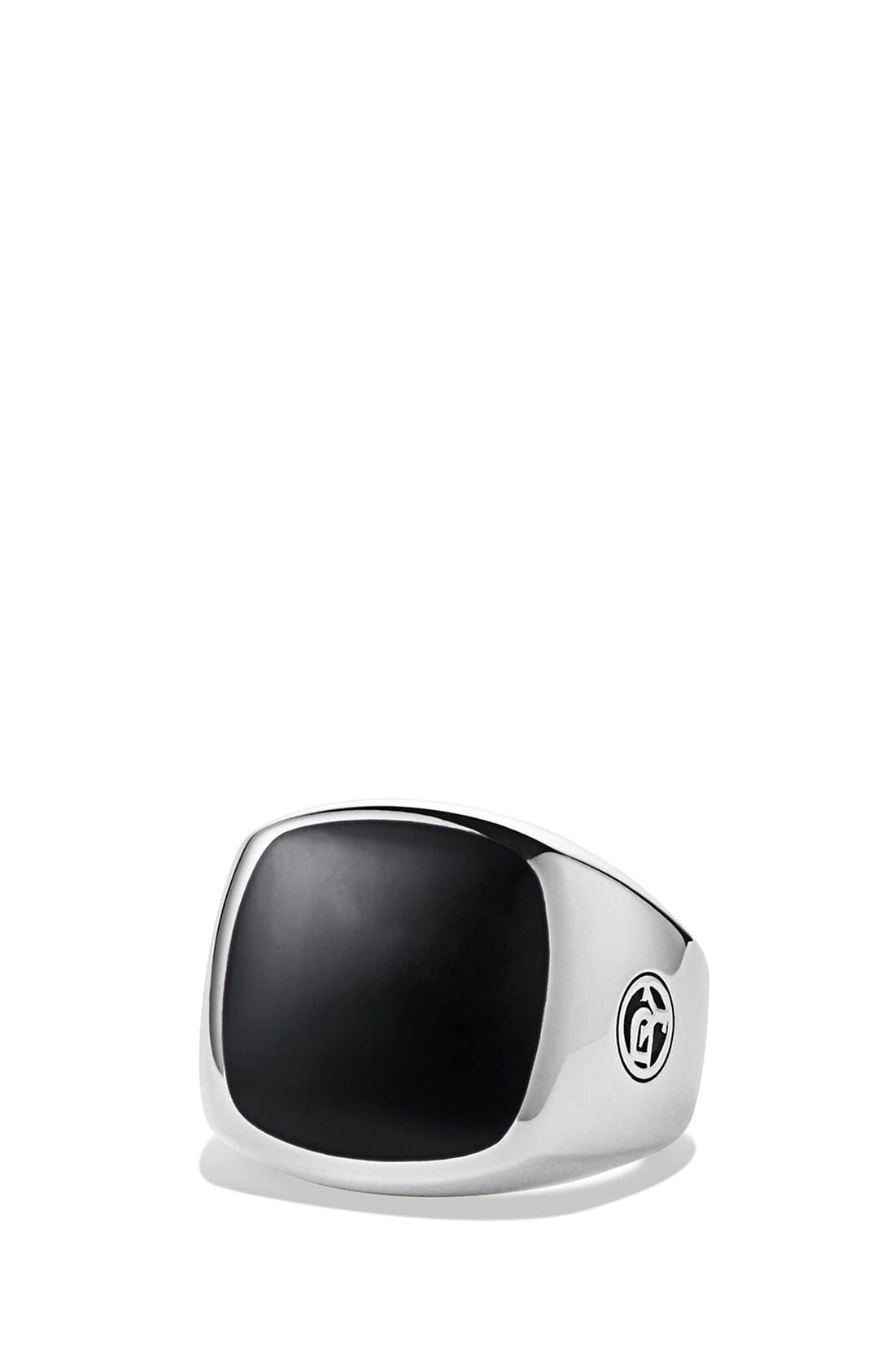 'Chevron' Signet Ring,                             Main thumbnail 1, color,                             Black Onyx