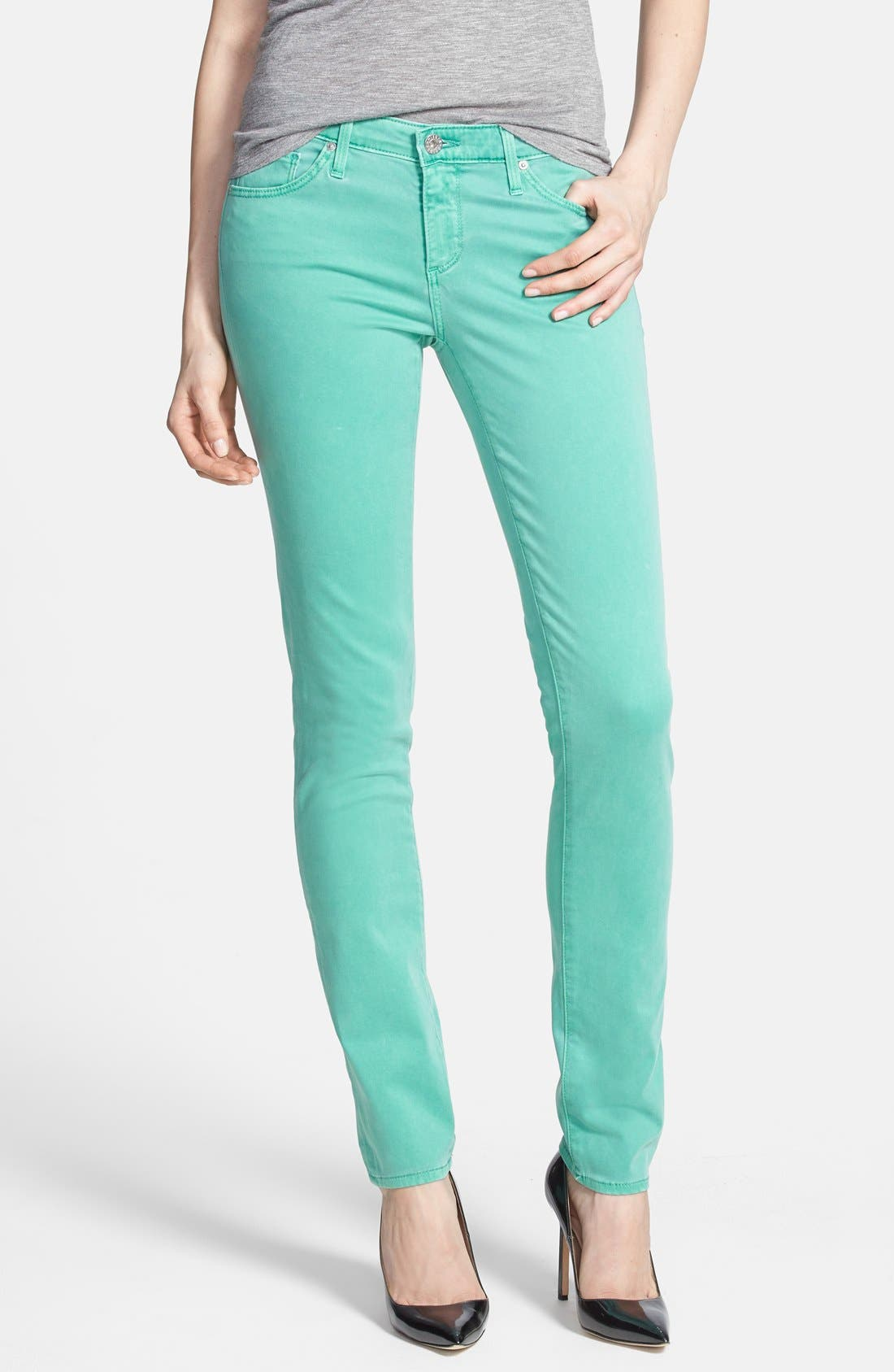 Main Image - AG 'Stilt' Skinny Ankle Jeans (Pigment Putt Putt Green)