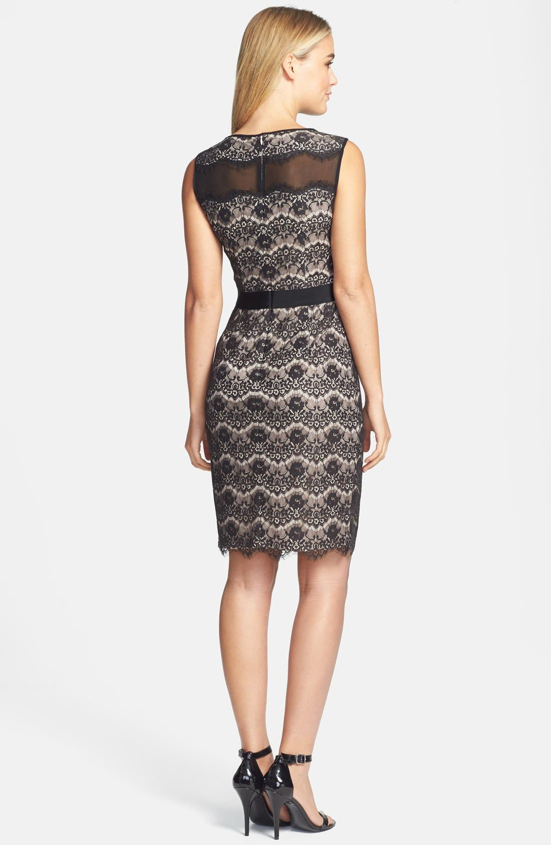 Alternate Image 2  - Maggy London Floral Lace Sheath Dress (Regular & Petite)
