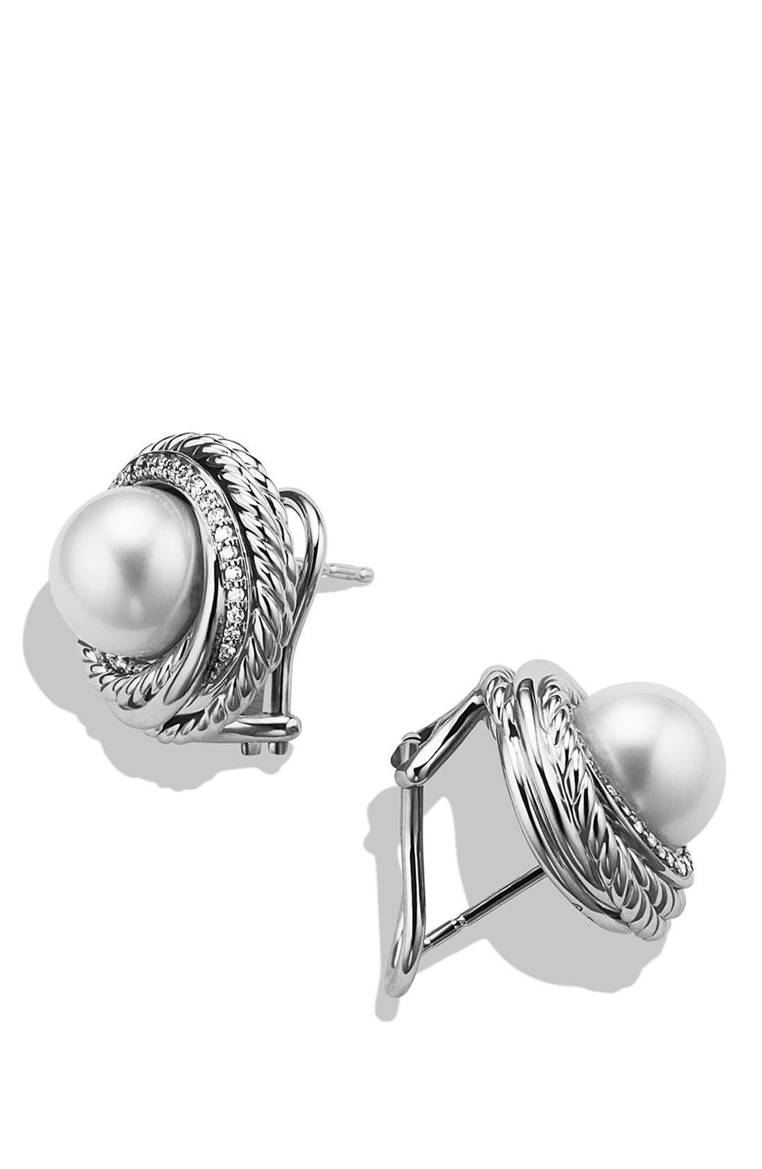 Alternate Image 2  - David Yurman 'Pearl Crossover' Earrings with Diamonds