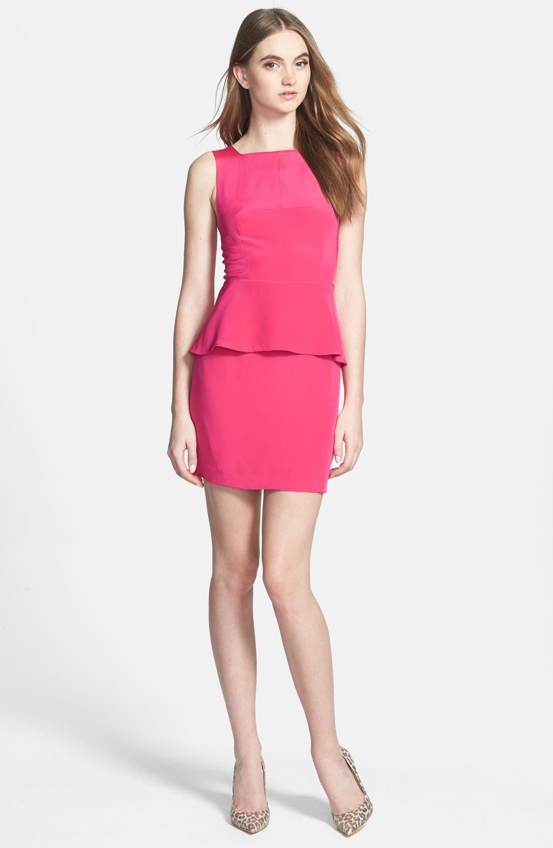 Alternate Image 1 Selected - Rebecca Minkoff 'Stam' Peplum Silk Sheath Dress