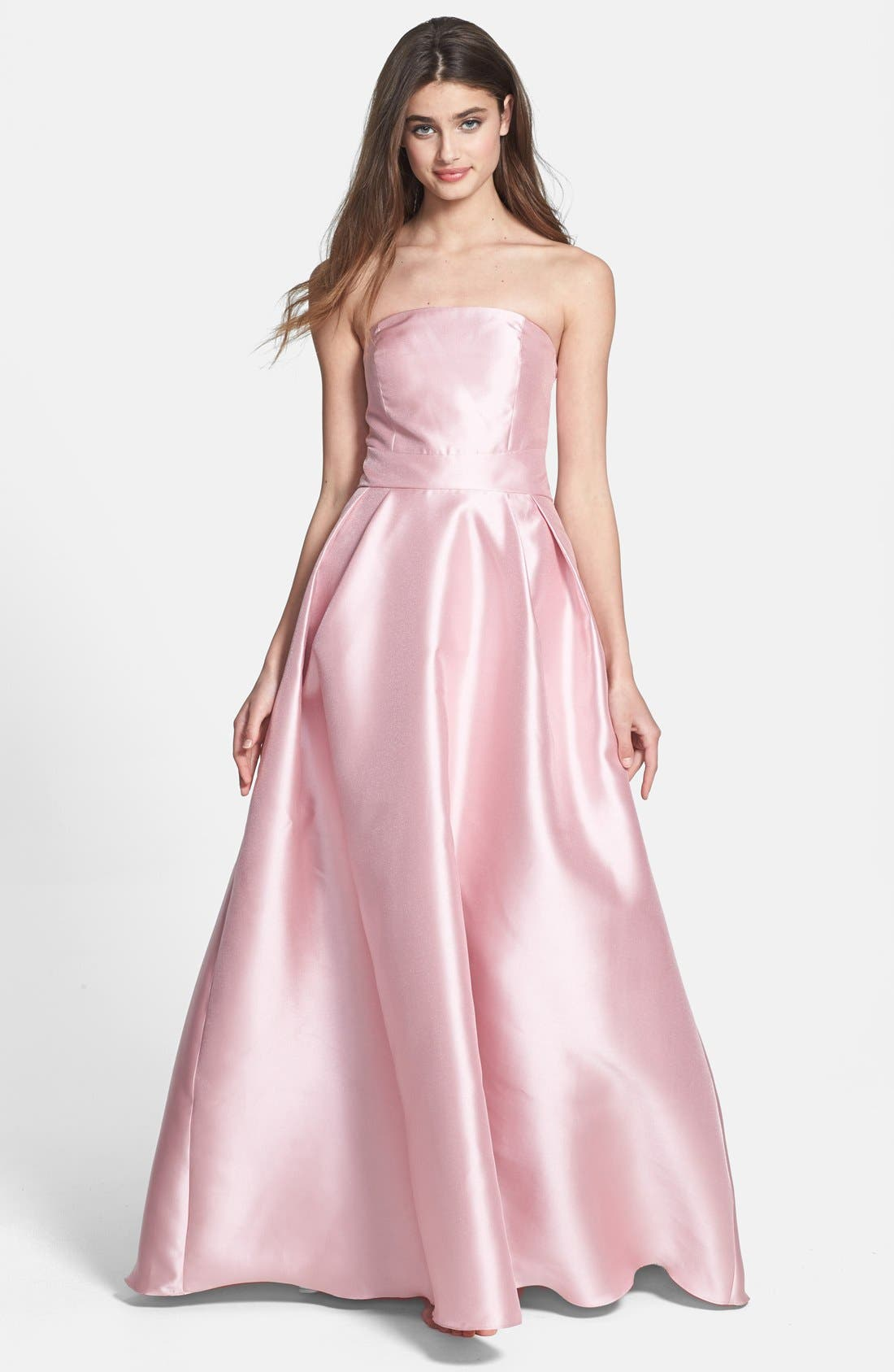 Alternate Image 1 Selected - ML Monique Lhuillier Bridesmaids Satin A-Line Gown (Nordstrom Exclusive)