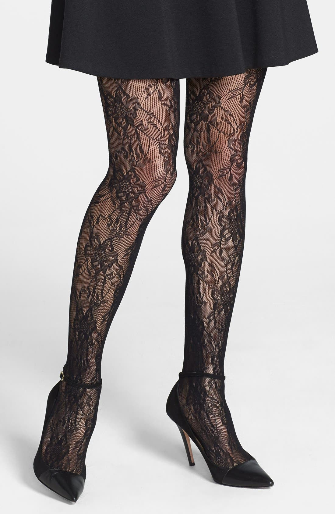 Main Image - Nordstrom Floral Openwork Crochet Tights