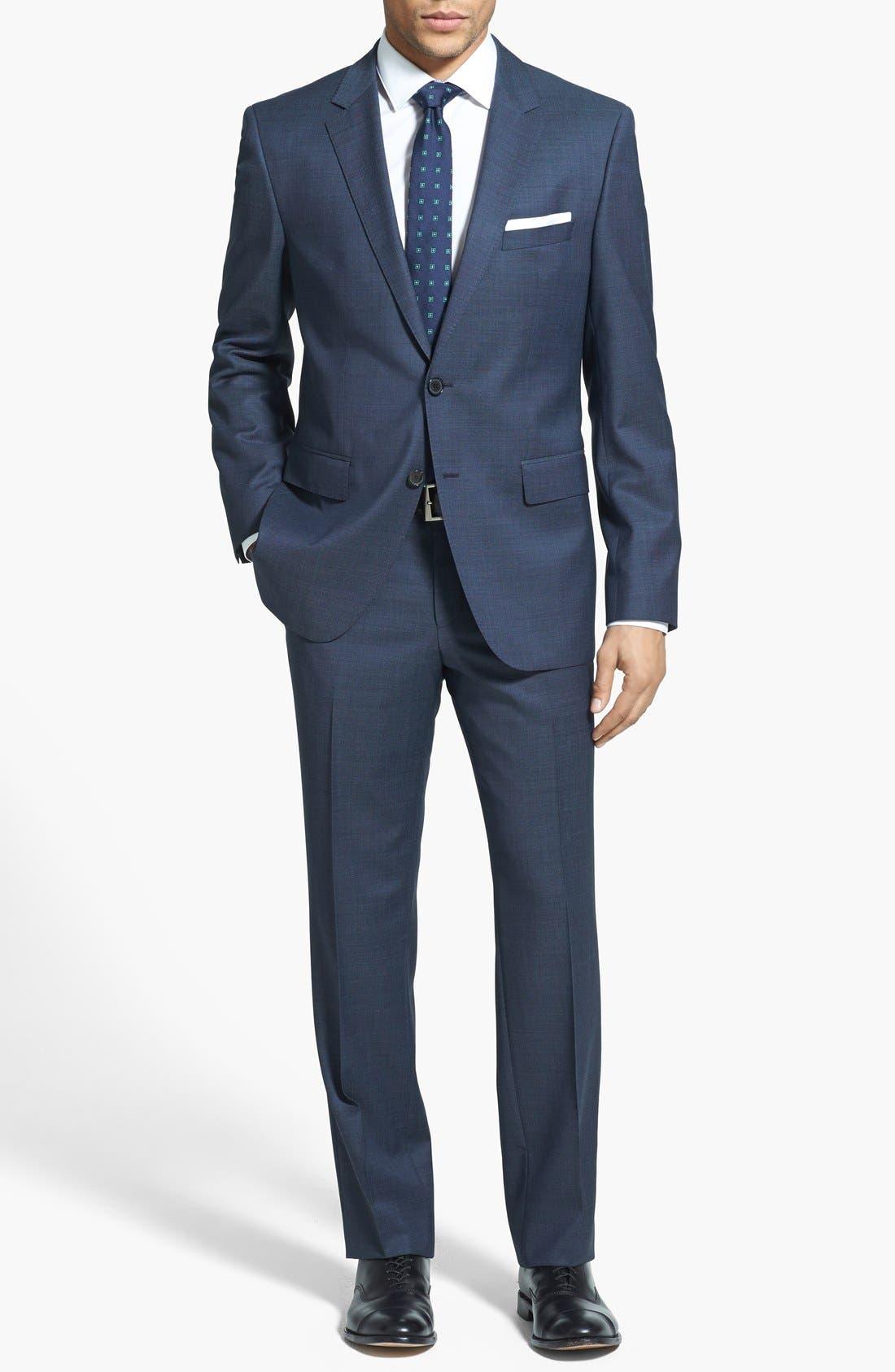 Alternate Image 1 Selected - BOSS HUGO BOSS 'James/Sharp' Trim Fit Wool Suit