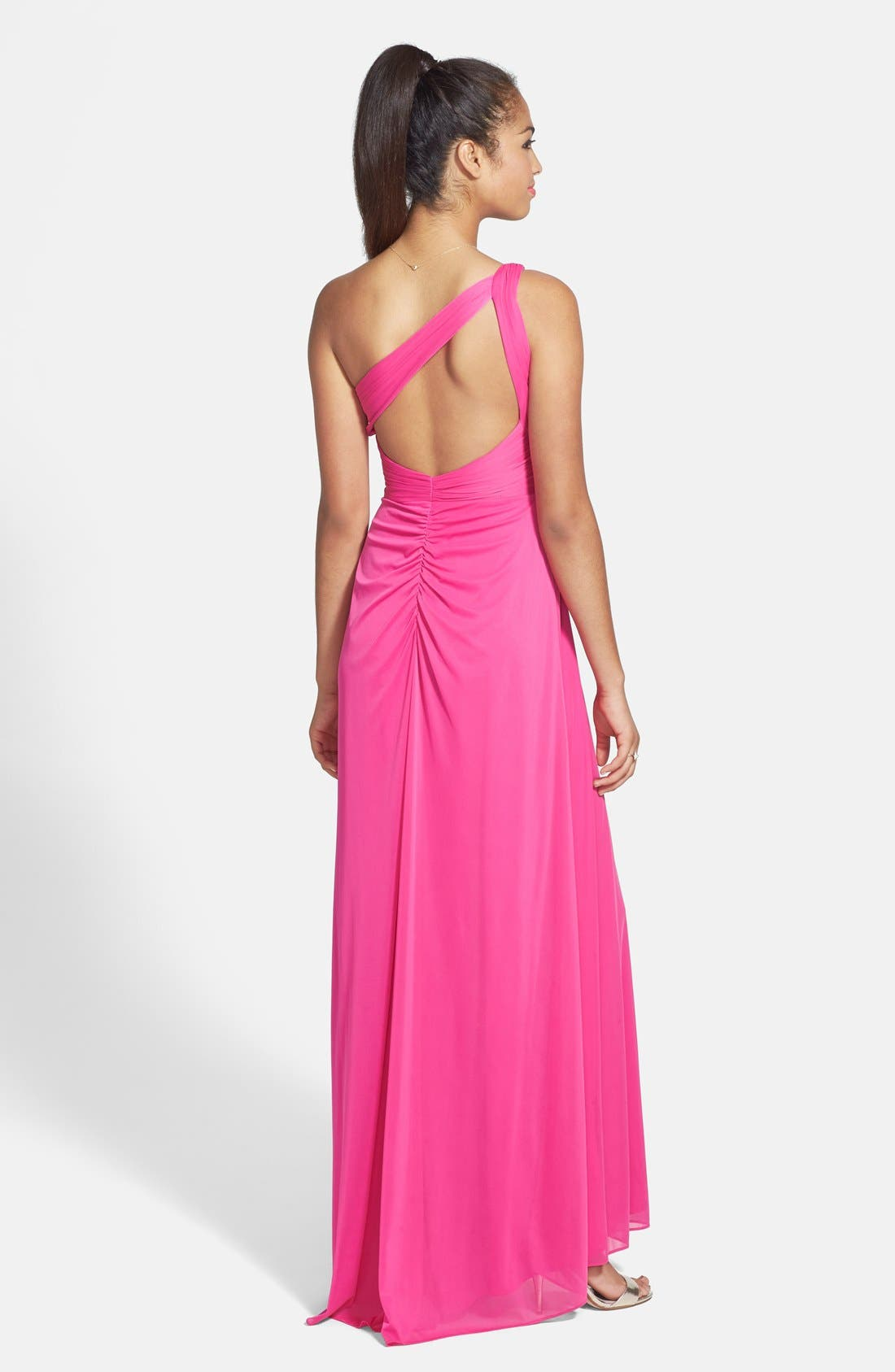 Alternate Image 2  - Hailey by Adrianna Papell Embellished One-Shoulder Chiffon Gown