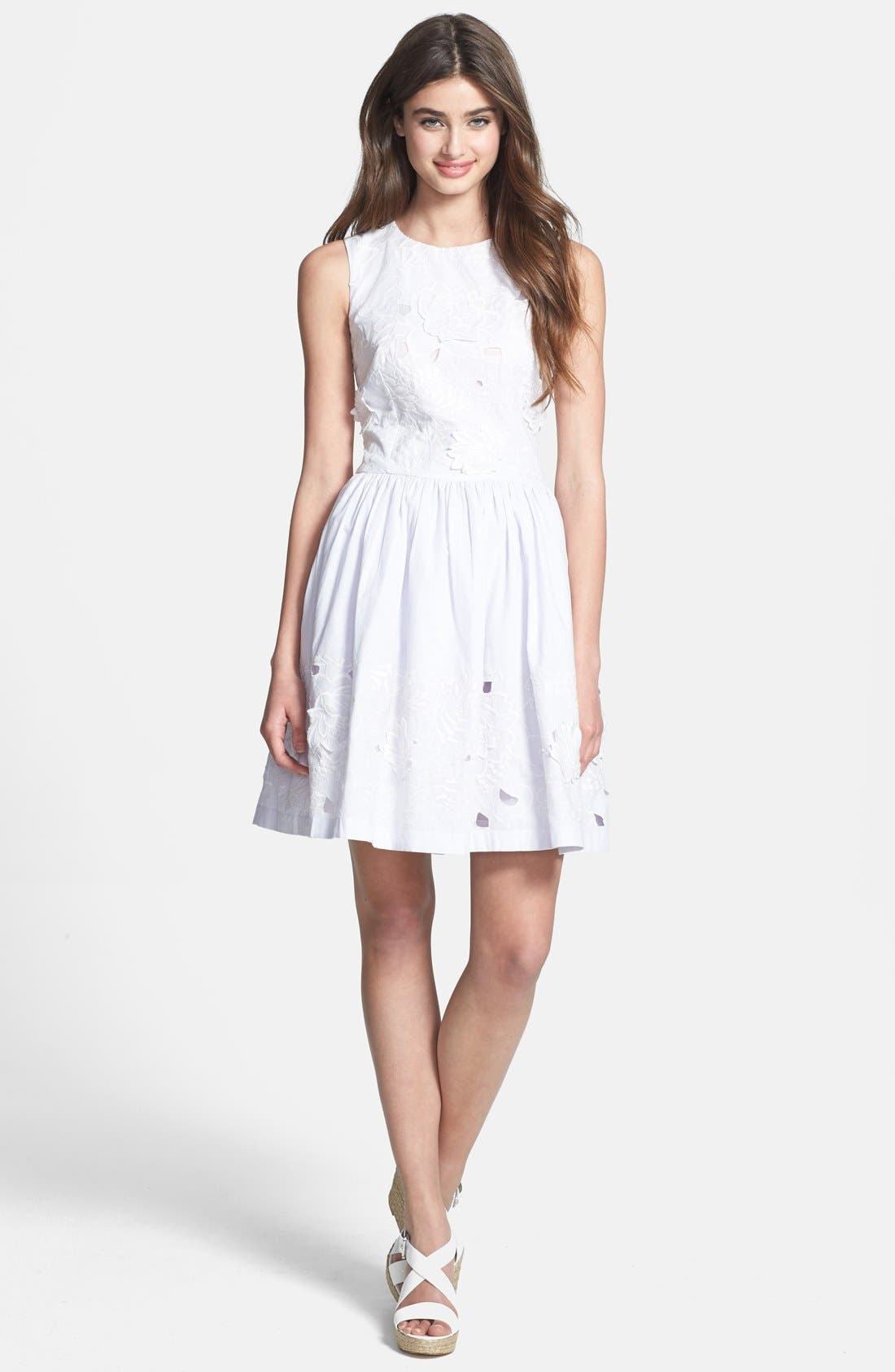 Lotus Cutout Cotton Fit & Flare Dress,                         Main,                         color, Silver Lake