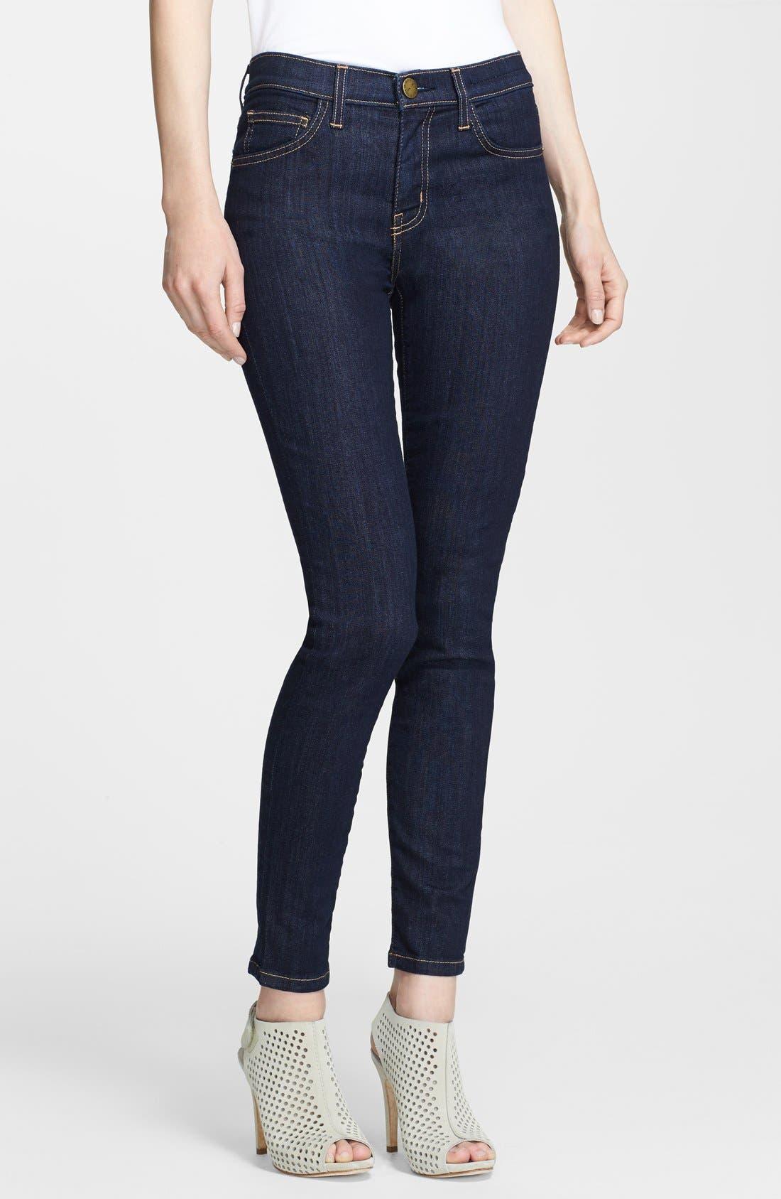 Current Elliott High Waist Skinny Ankle Jeans Rinse