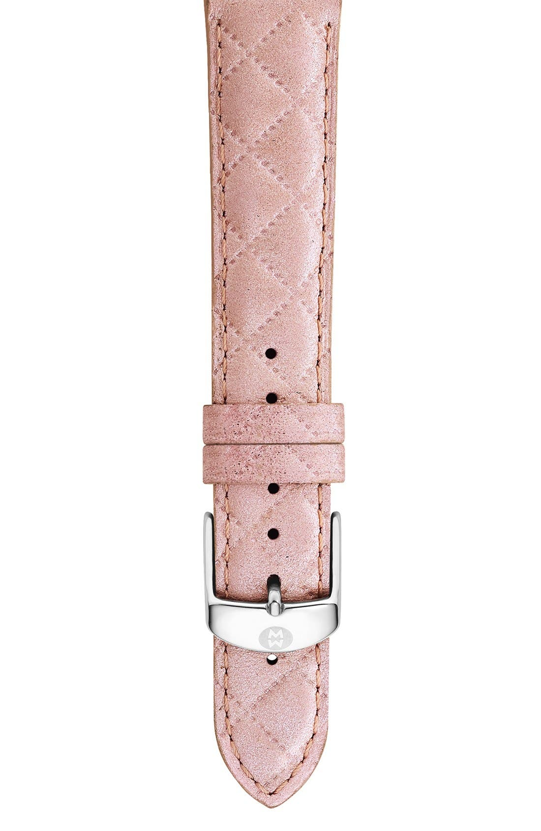18mm Quilted Leather Watch Strap,                         Main,                         color, Pearl Pink