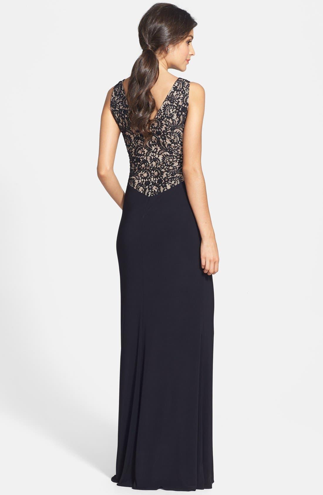 Alternate Image 2  - JS Boutique Lace Back V-Neck Matte Jersey Gown