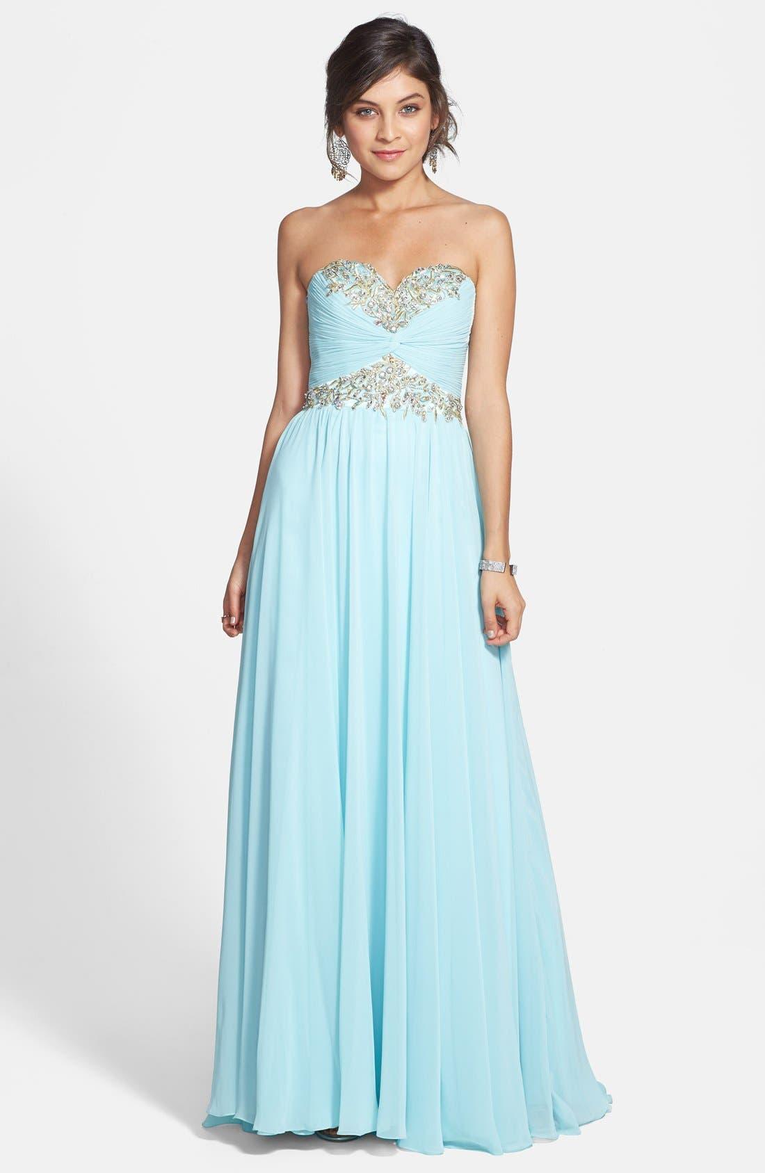 Main Image - Sherri Hill Embellished Strapless Chiffon Gown