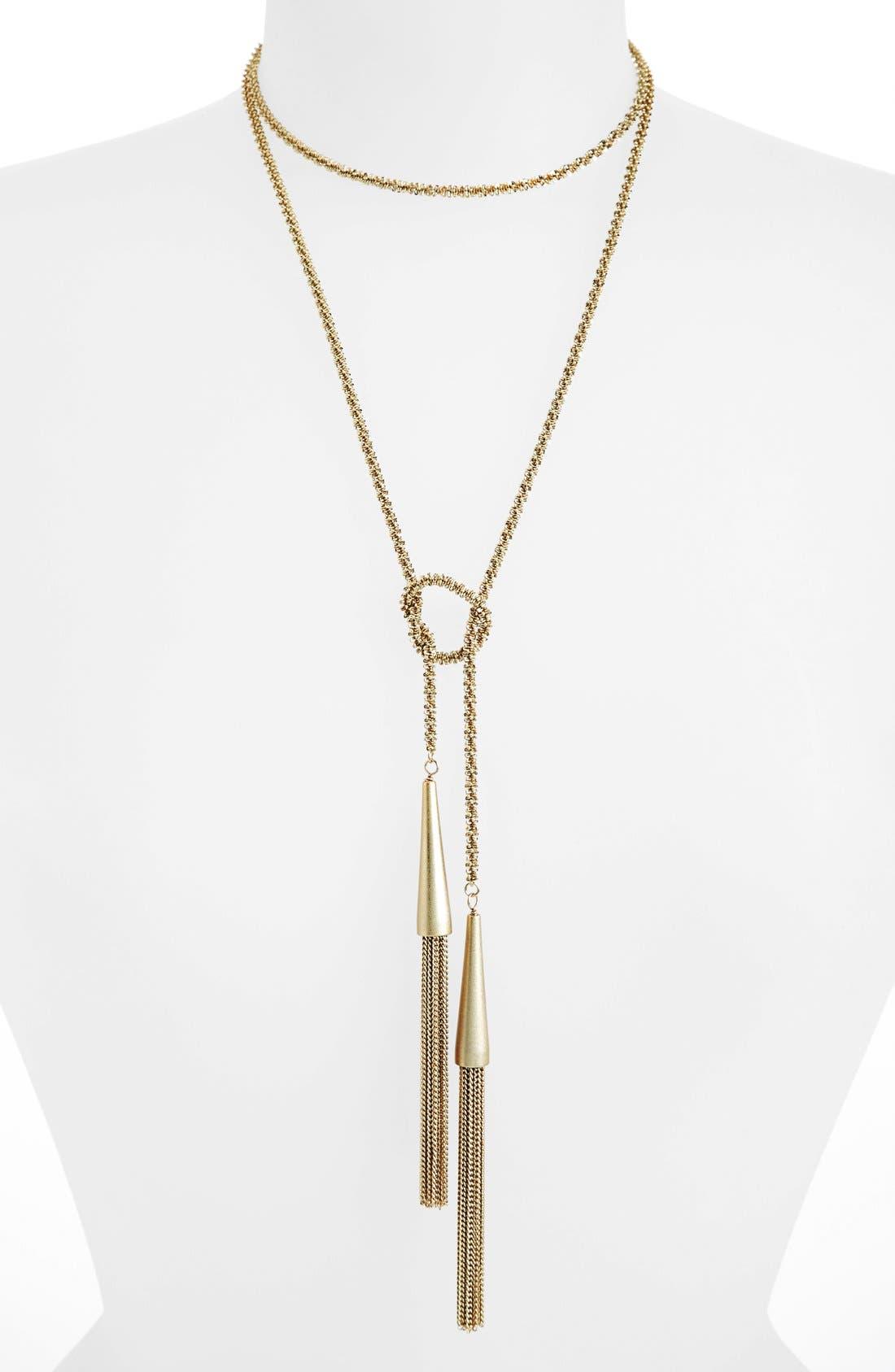 'Phara' Tassel Lariat Necklace,                         Main,                         color, Gold