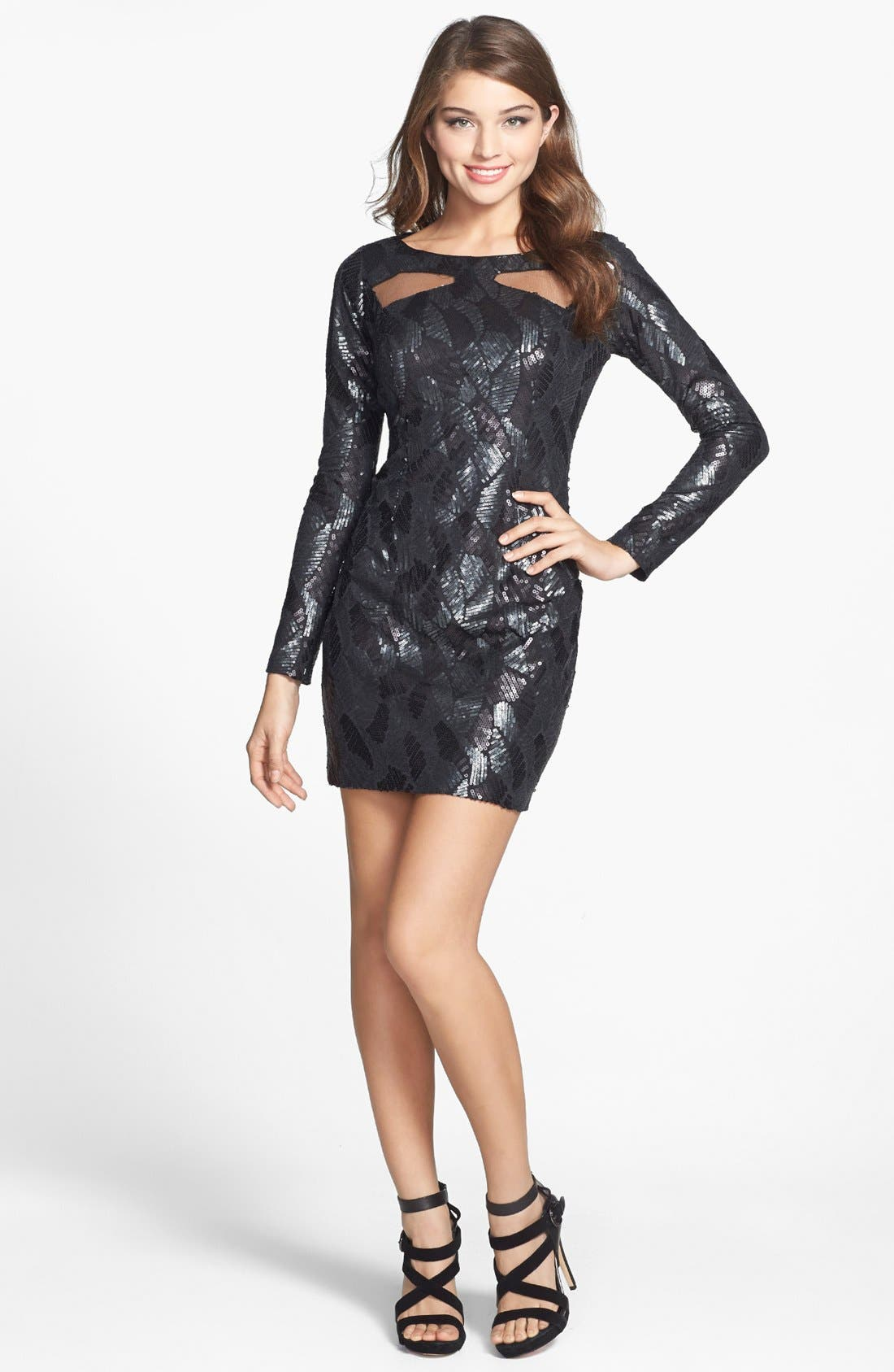 Main Image - Hailey by Adrianna Papell Sequin Pattern Illusion Cutout Jersey Dress