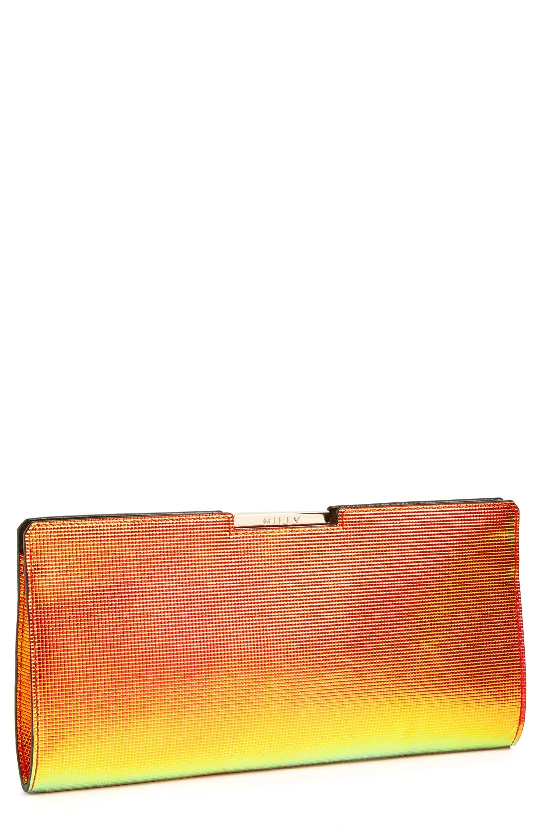Main Image - Milly 'Crosby' Iridescent Frame Clutch