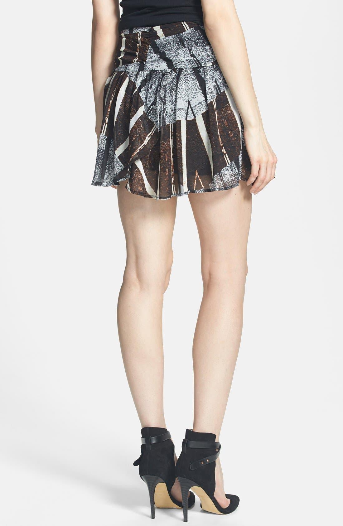 ASTR Ruched Waist Chiffon Miniskirt,                             Alternate thumbnail 2, color,                             Black-Brown Multi