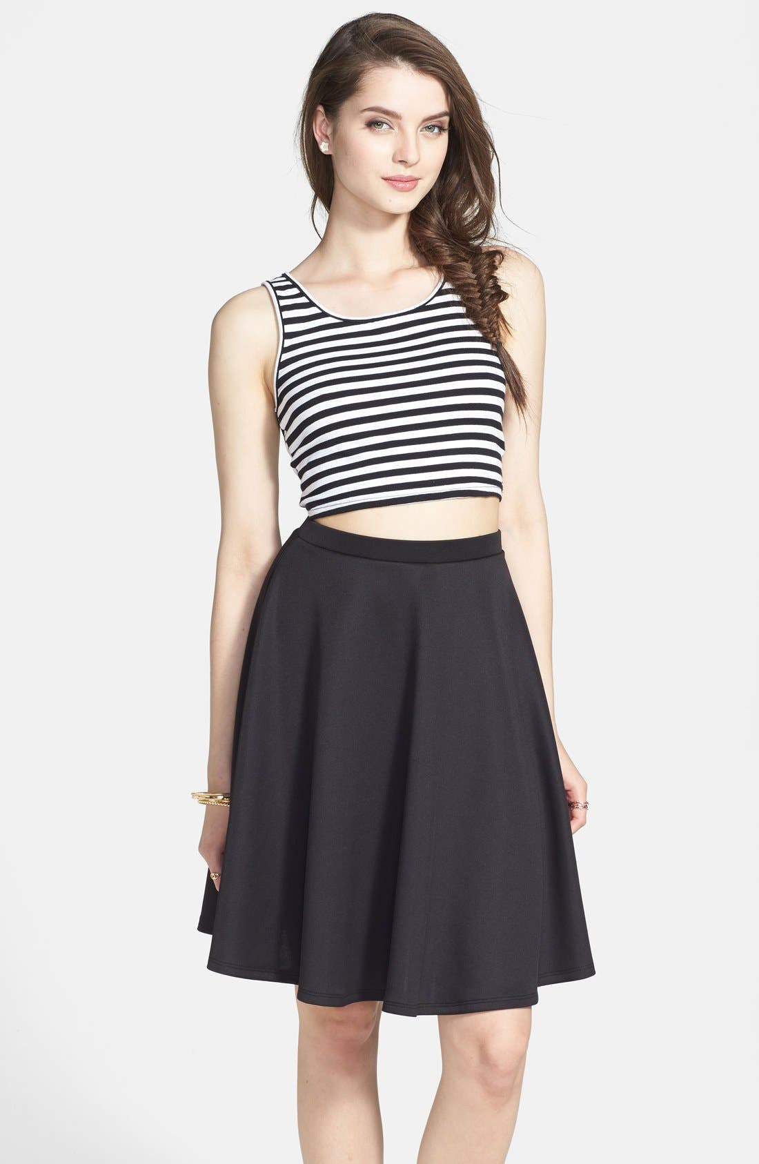 Main Image - Painted Threads Knit A-Line Skirt (Juniors) (Online Only)