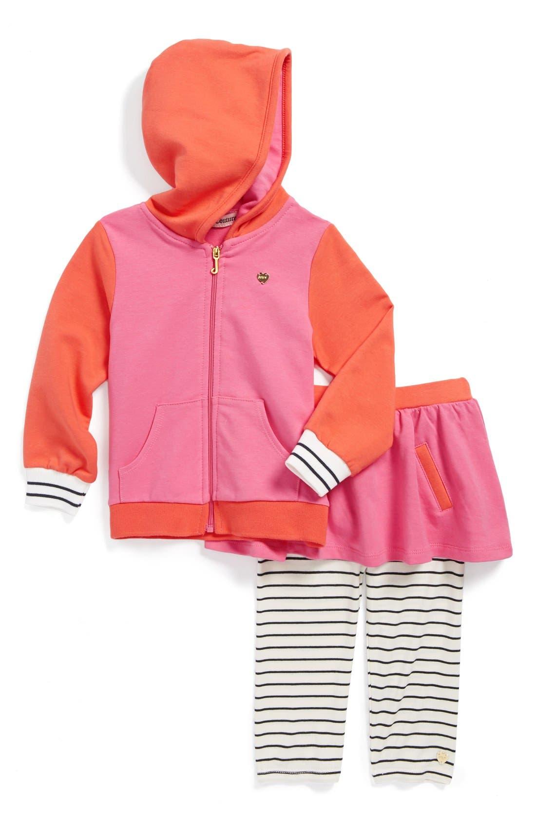 Alternate Image 1 Selected - Juicy Couture Hoodie & Skirted Leggings (Baby Girls)