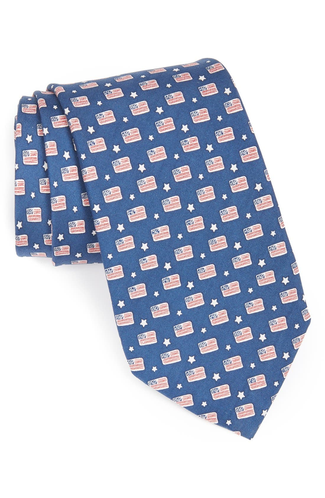 Flag Print Tie,                         Main,                         color, Navy