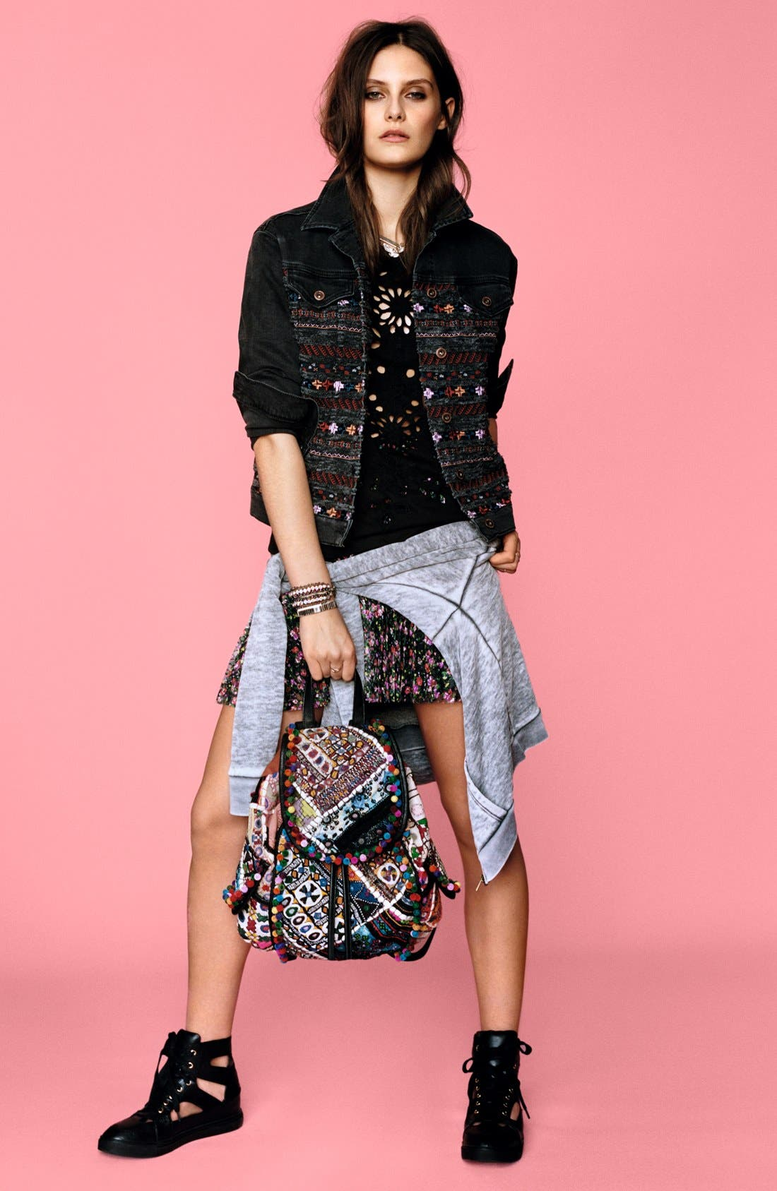 Alternate Image 6  - Topshop Floral Lace Pleat Miniskirt