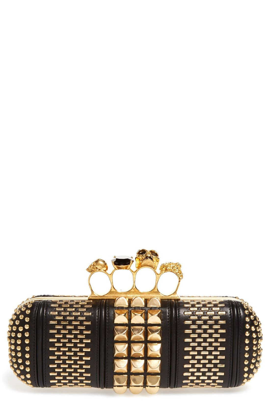 Main Image - Alexander McQueen Knuckle Clasp Graphic Studded Box Clutch