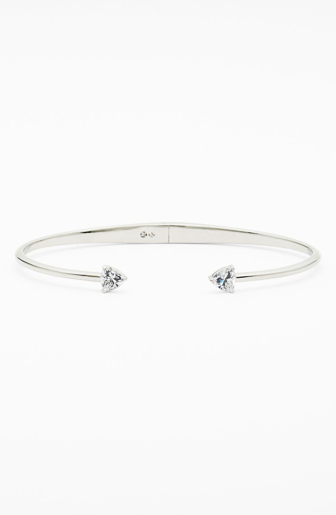 Arrow Cubic Zirconia Station Cuff,                         Main,                         color, Silver/ Clear