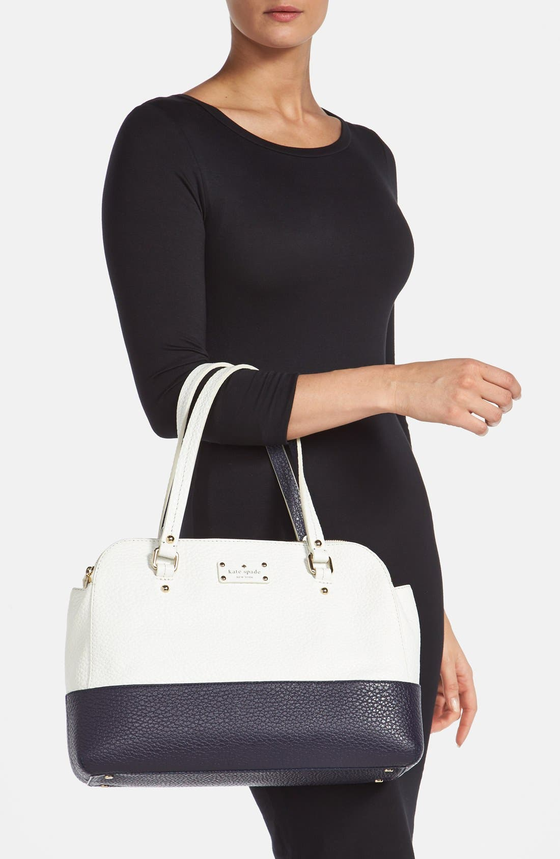 'grove court - lainey' leather tote,                             Alternate thumbnail 2, color,                             Fresh White/ Midnight