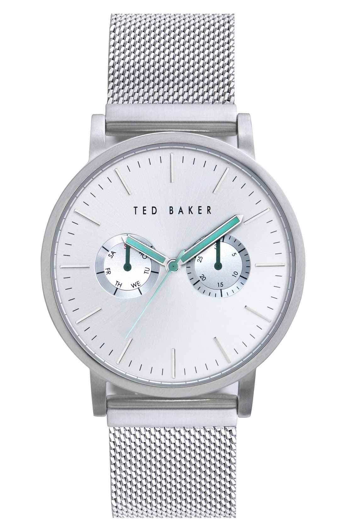 Ted Baker London Multifunction Mesh Strap Watch, 40mm