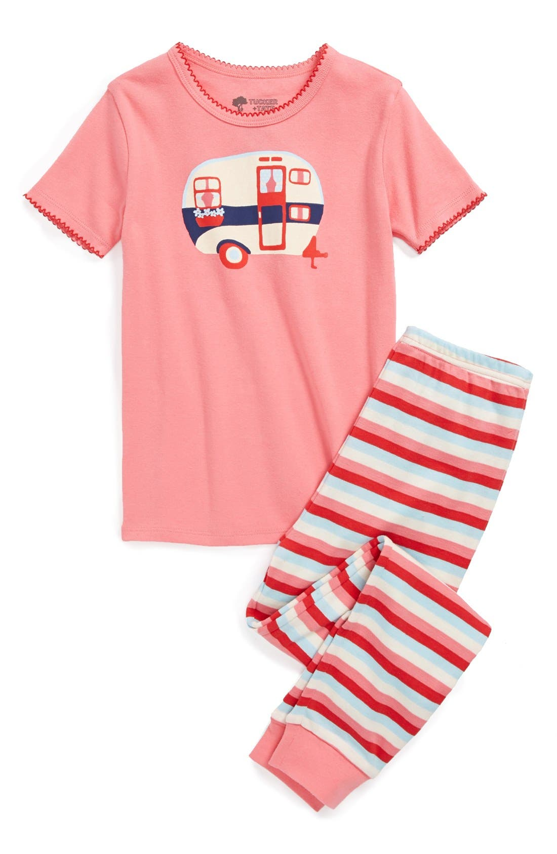 Two-Piece Fitted Pajamas,                         Main,                         color, Pink Camper