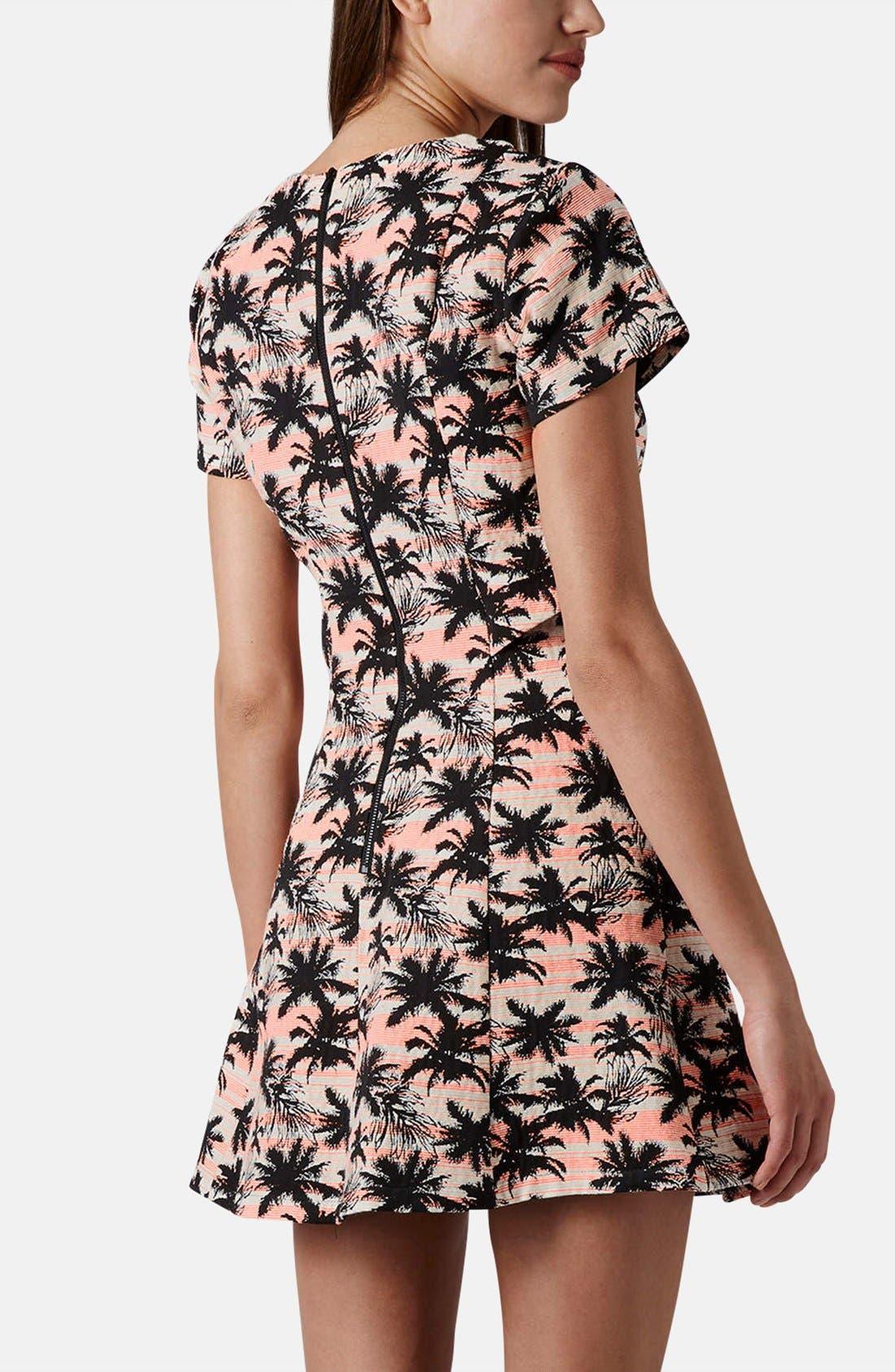Alternate Image 2  - Topshop Cutout Palm Jacquard Skater Dress