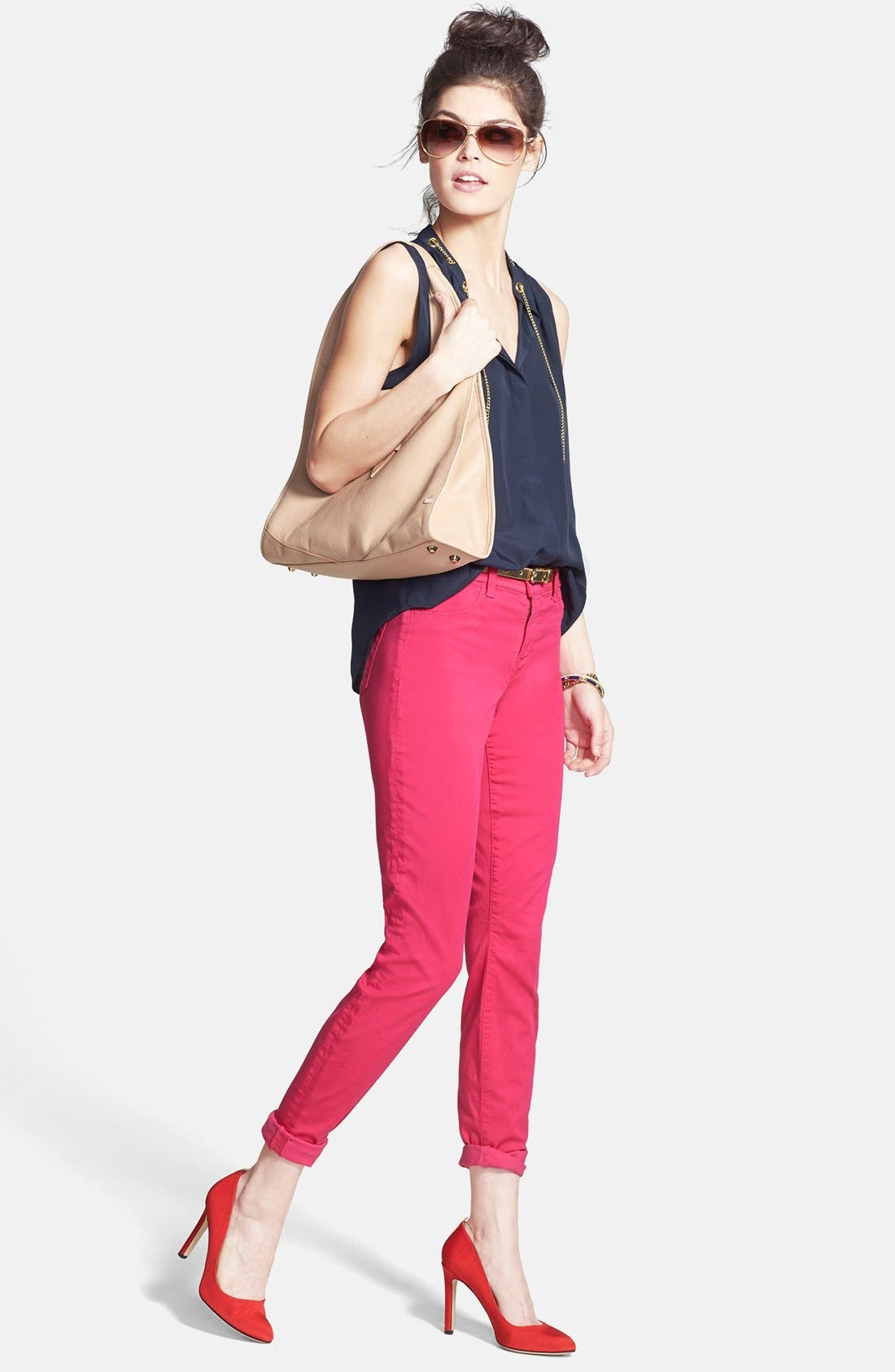 Alternate Image 3  - J Brand '485' Mid Rise Super Skinny Jeans (Wildflower)