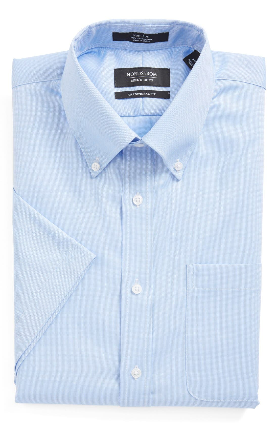 Main Image - Nordstrom Men's Shop Traditional Fit Non-Iron Short Sleeve Dress Shirt (Online Only)