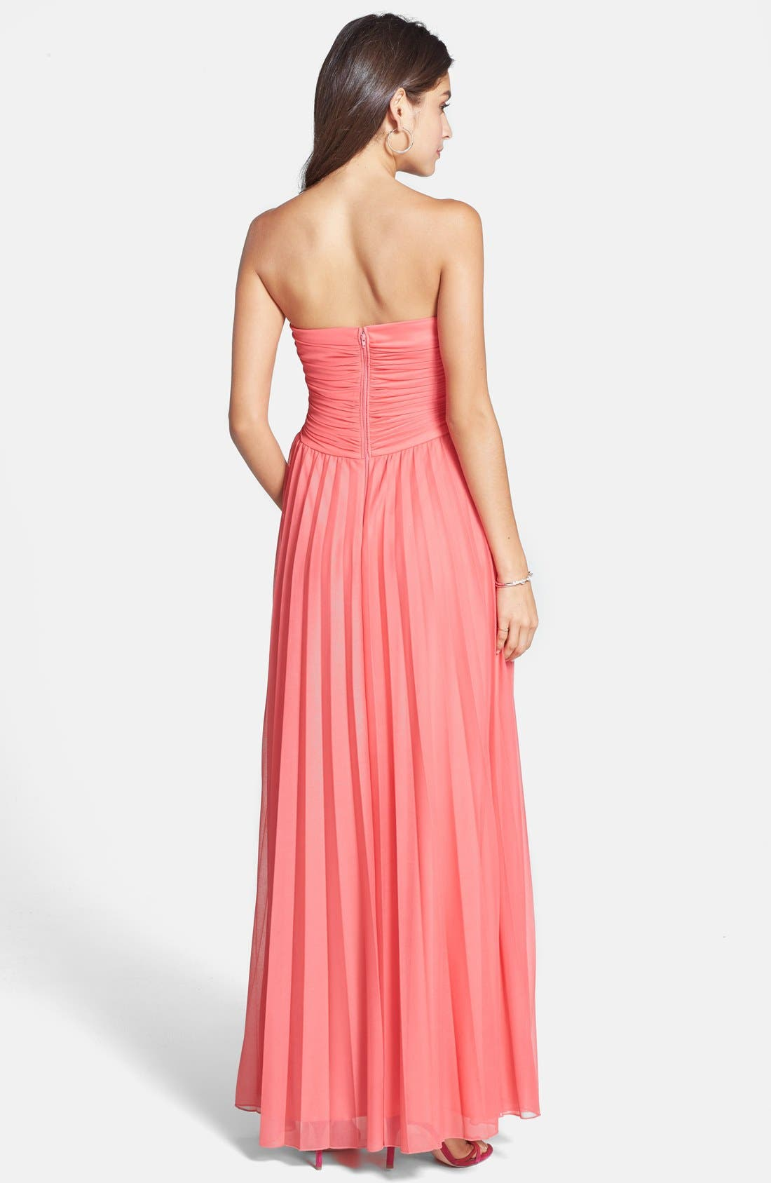 Alternate Image 2  - Way-In Embellished Pleat Strapless Gown (Juniors)