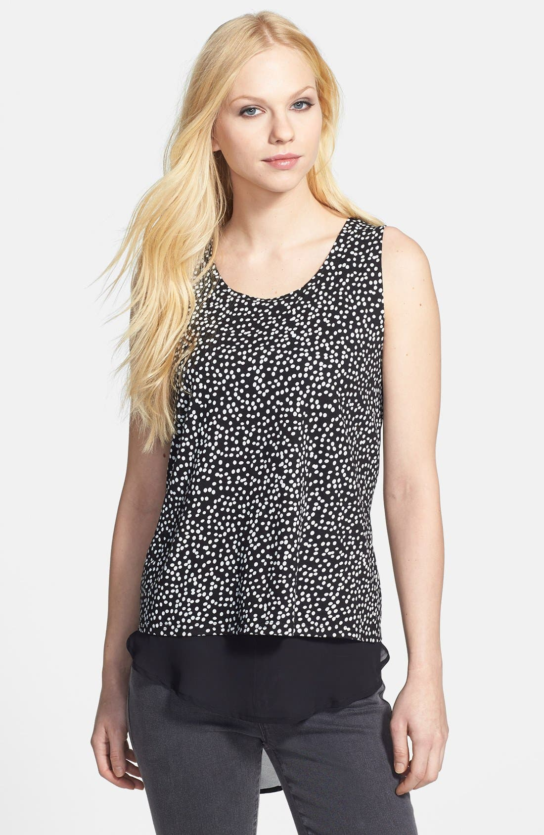 Main Image - Two by Vince Camuto 'Speckle Dot' Double Layer Tank