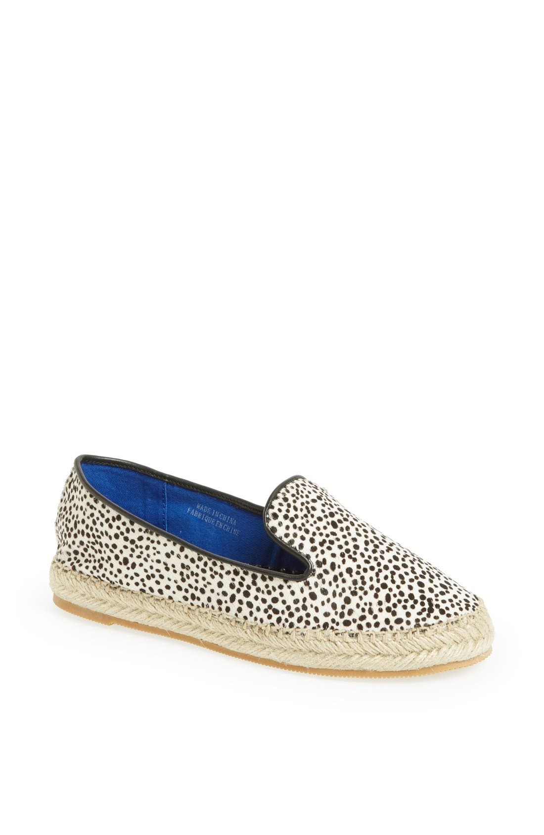 'Abides' Printed Calf Hair Espadrille Flat,                         Main,                         color, White Black Jaguar