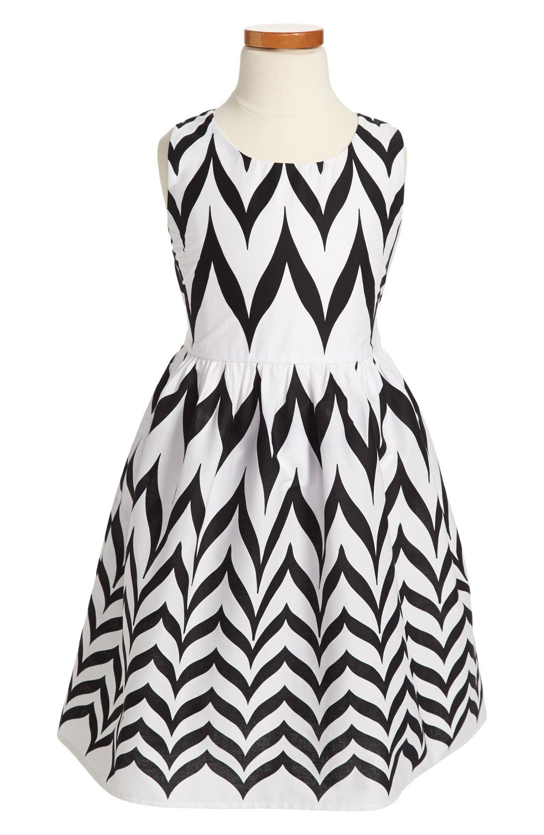 Main Image - Roxette Chevron Print Sleeveless Dress (Big Girls)