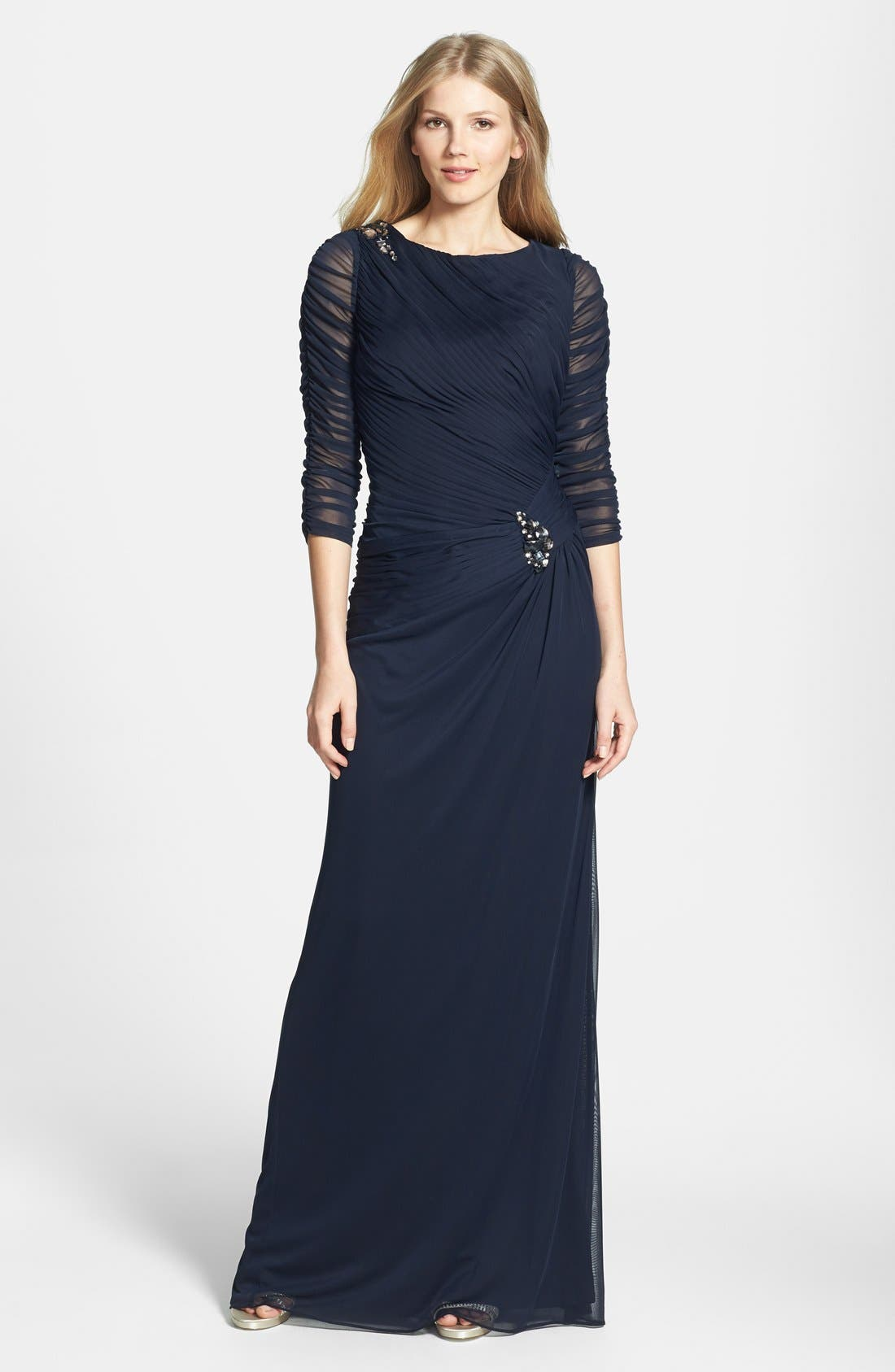 Sheer Sleeve Ruched Mesh Gown,                         Main,                         color, Ink